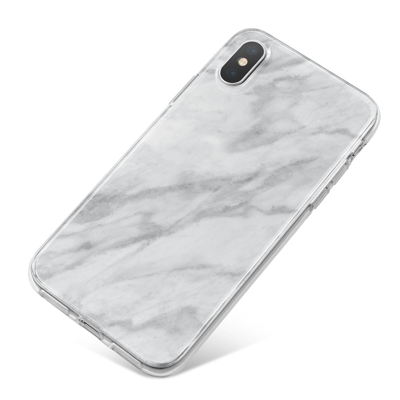Faux Marble Effect Italian iPhone X Bumper Case on Silver iPhone