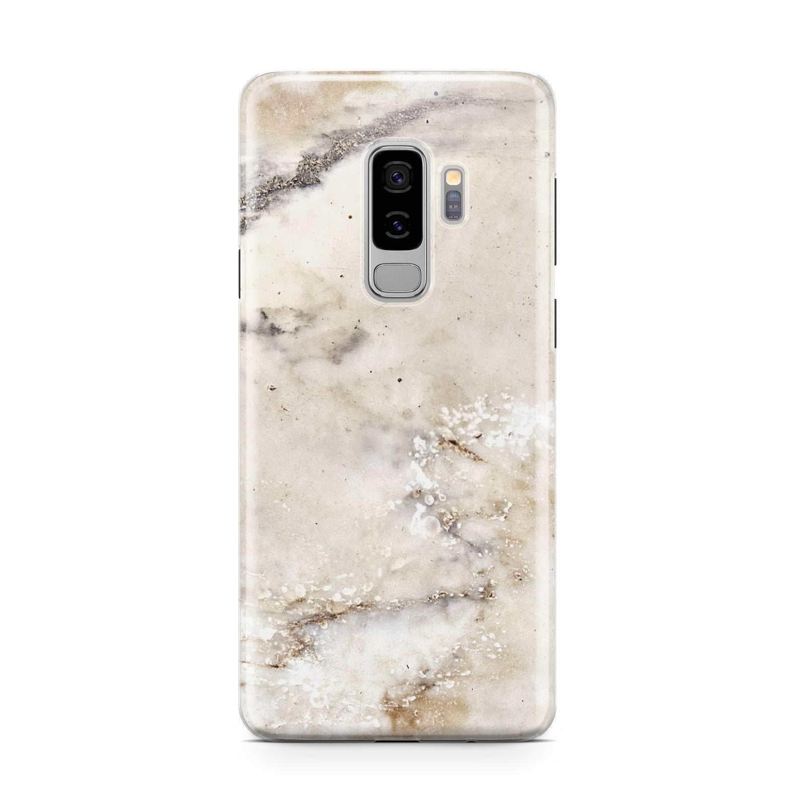 Faux Marble Effect Print Samsung Galaxy S9 Plus Case on Silver phone