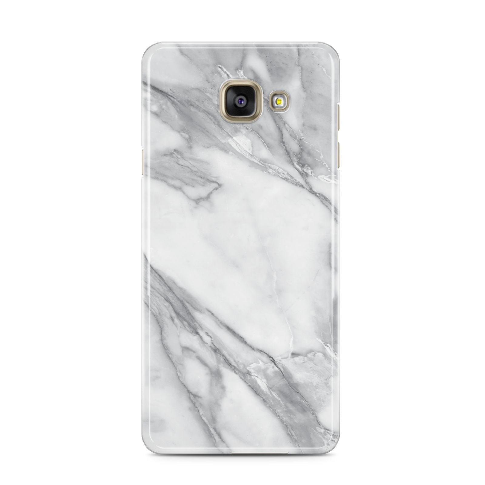 Faux Marble Effect White Grey Samsung Galaxy A3 2016 Case on gold phone