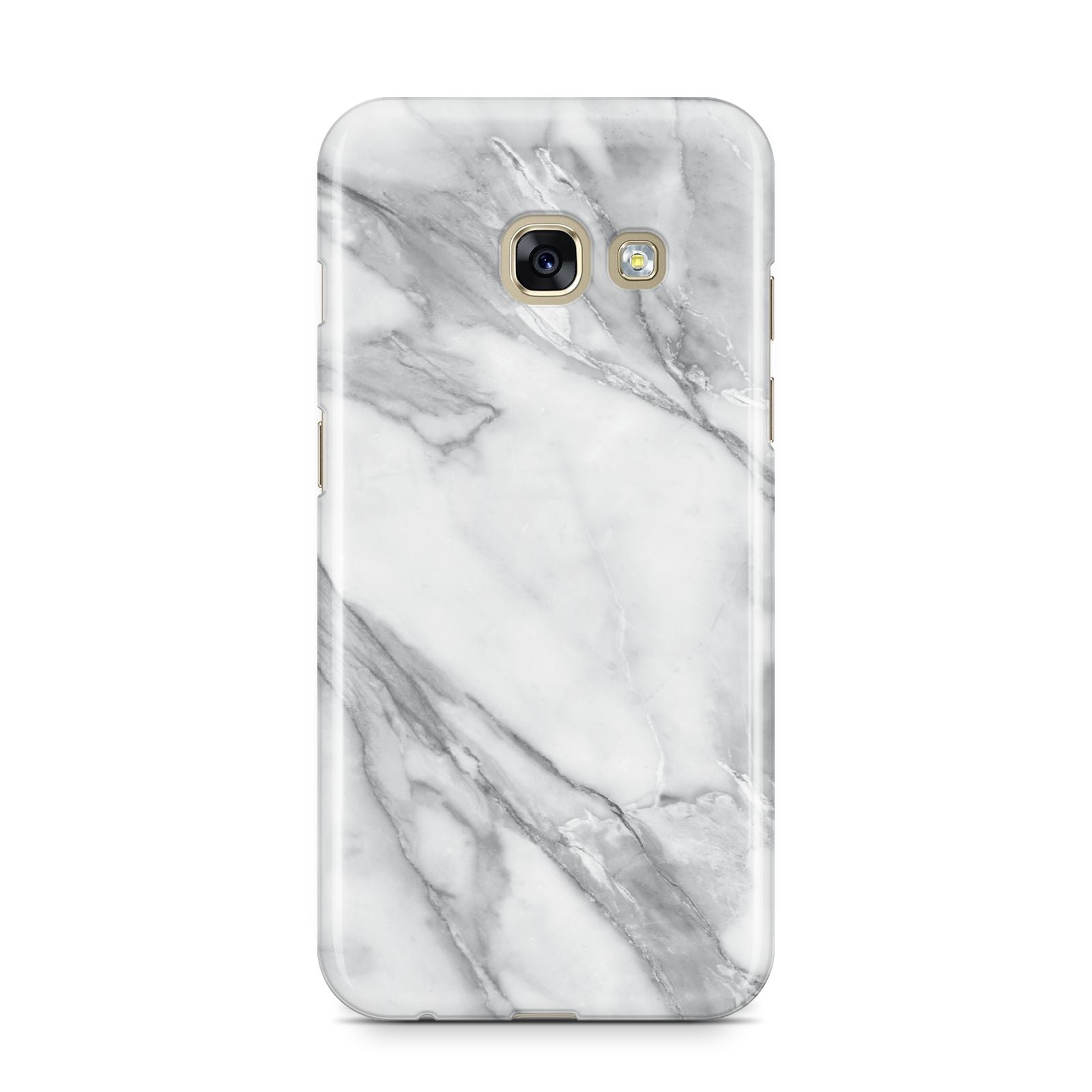 Faux Marble Effect White Grey Samsung Galaxy A3 2017 Case on gold phone