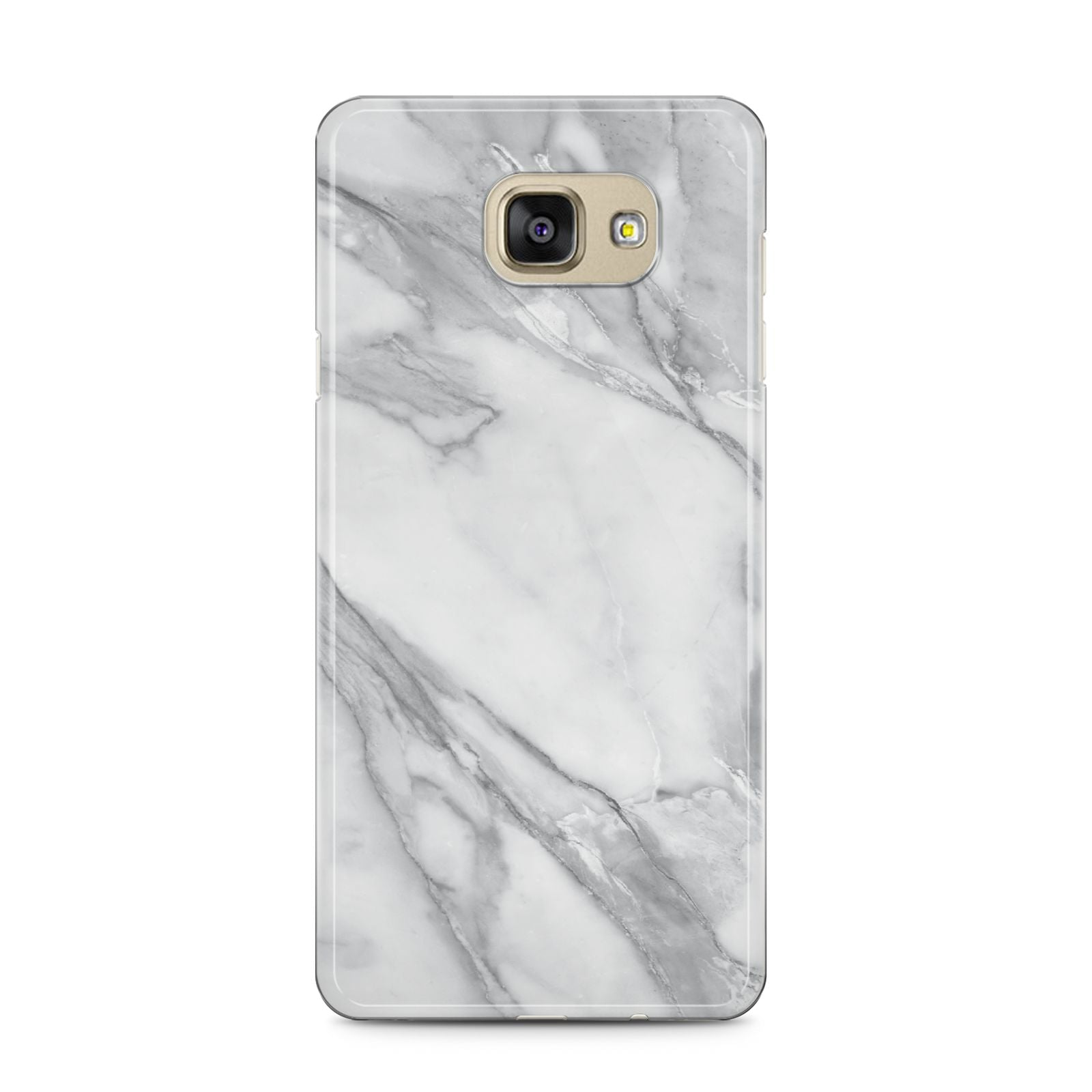 Faux Marble Effect White Grey Samsung Galaxy A5 2016 Case on gold phone