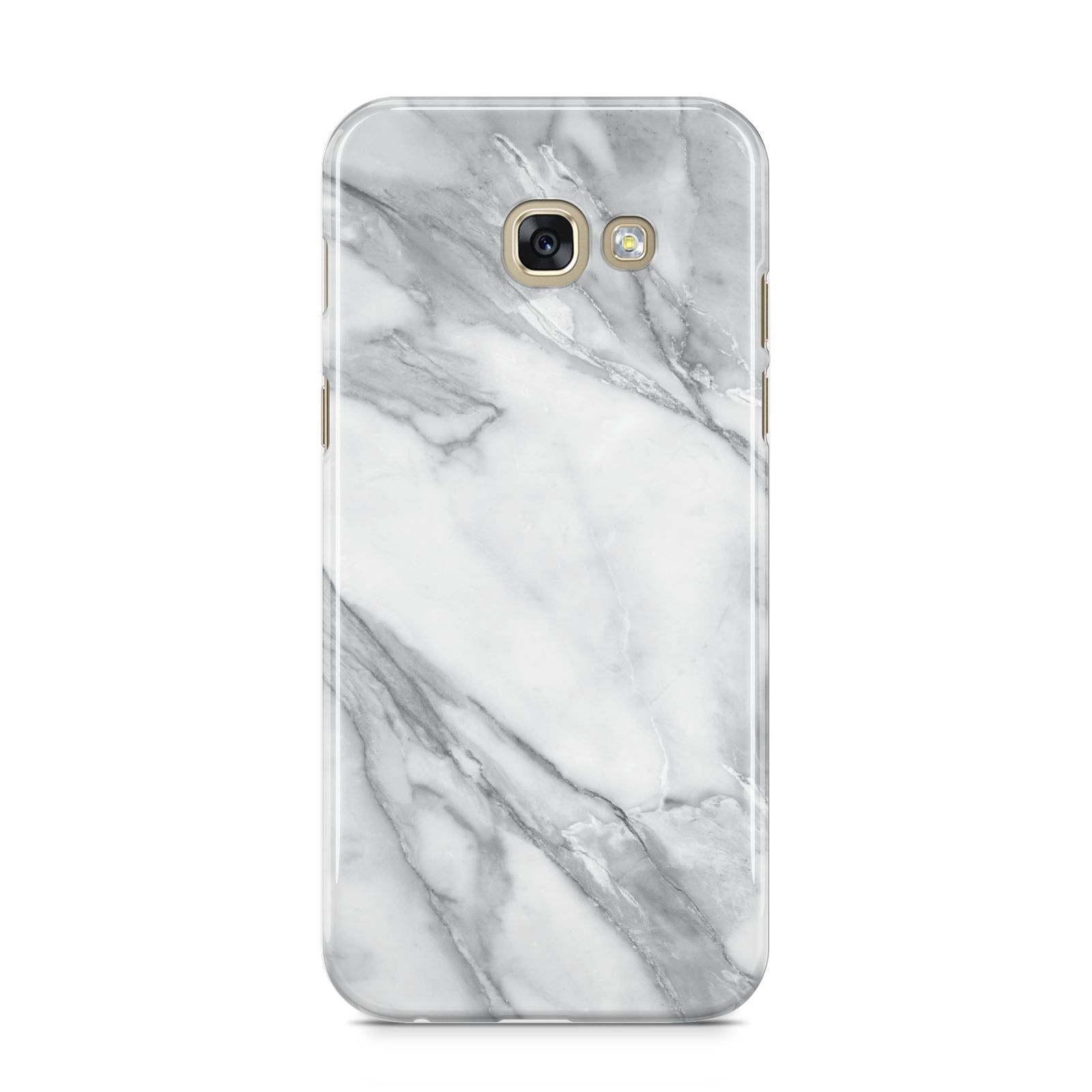 Faux Marble Effect White Grey Samsung Galaxy A5 2017 Case on gold phone