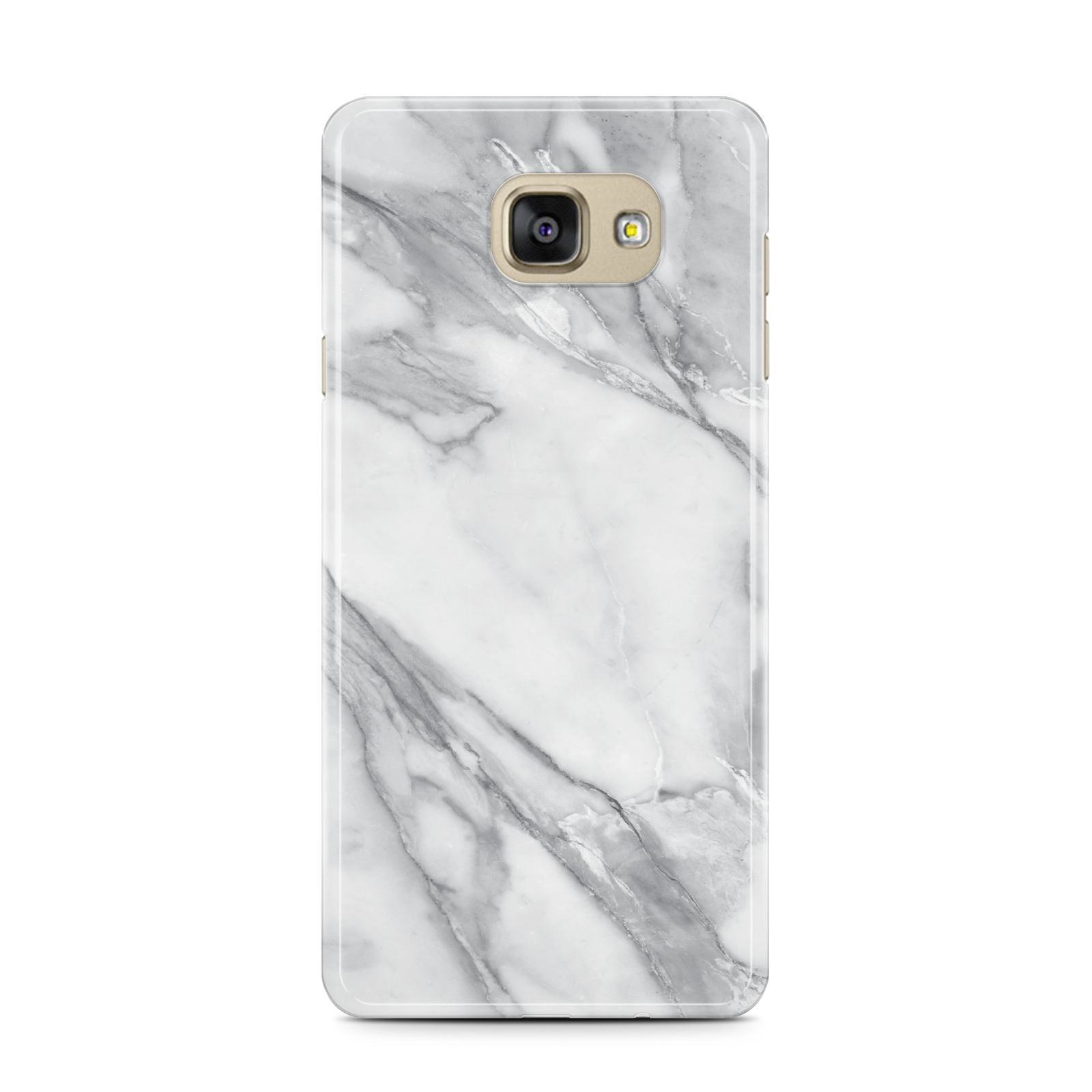 Faux Marble Effect White Grey Samsung Galaxy A7 2016 Case on gold phone