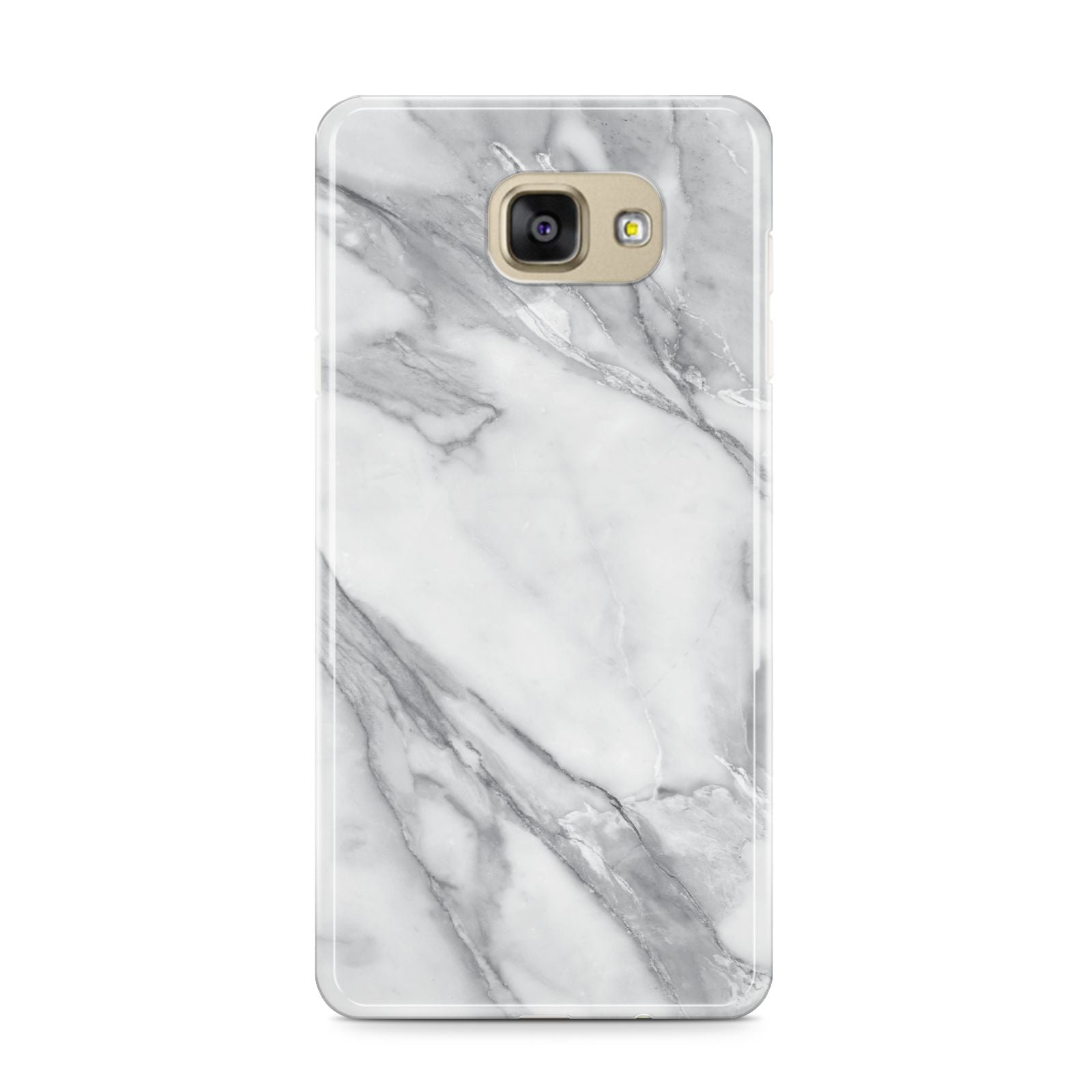 Faux Marble Effect White Grey Samsung Galaxy A9 2016 Case on gold phone