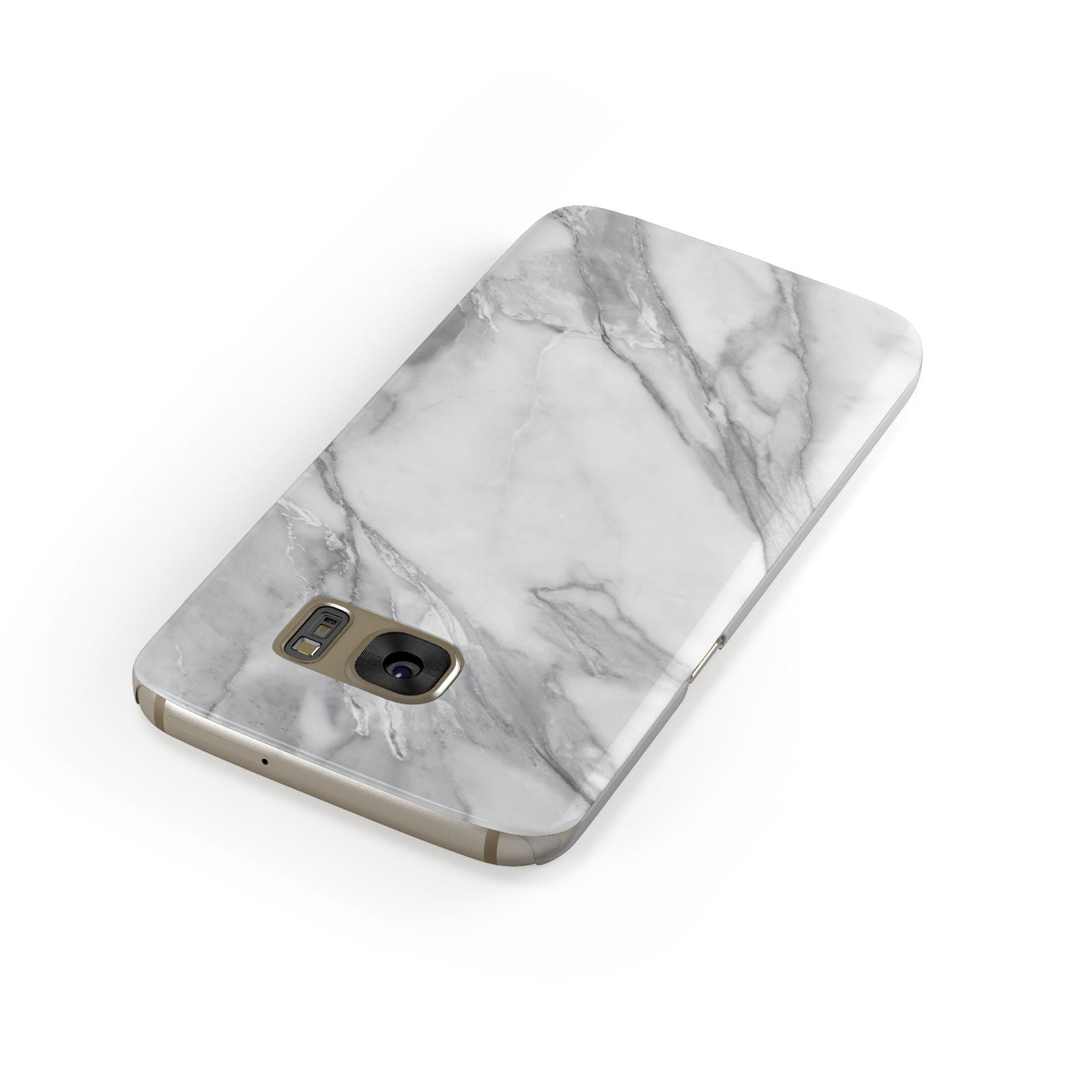 Faux Marble Effect White Grey Samsung Galaxy Case Front Close Up