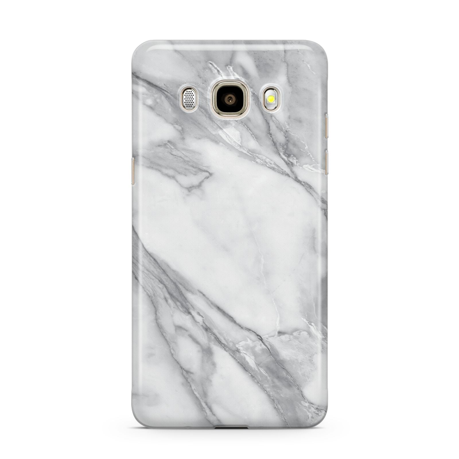 Faux Marble Effect White Grey Samsung Galaxy J7 2016 Case on gold phone