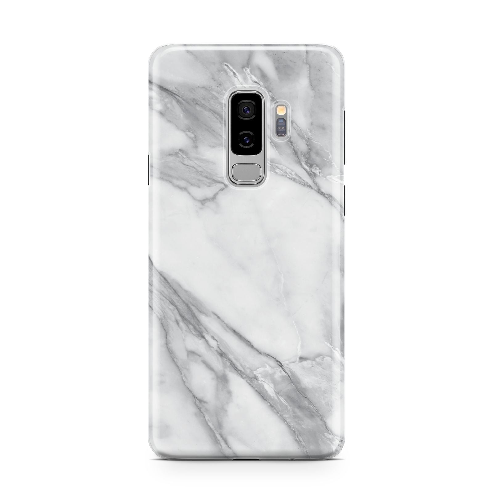 Faux Marble Effect White Grey Samsung Galaxy S9 Plus Case on Silver phone