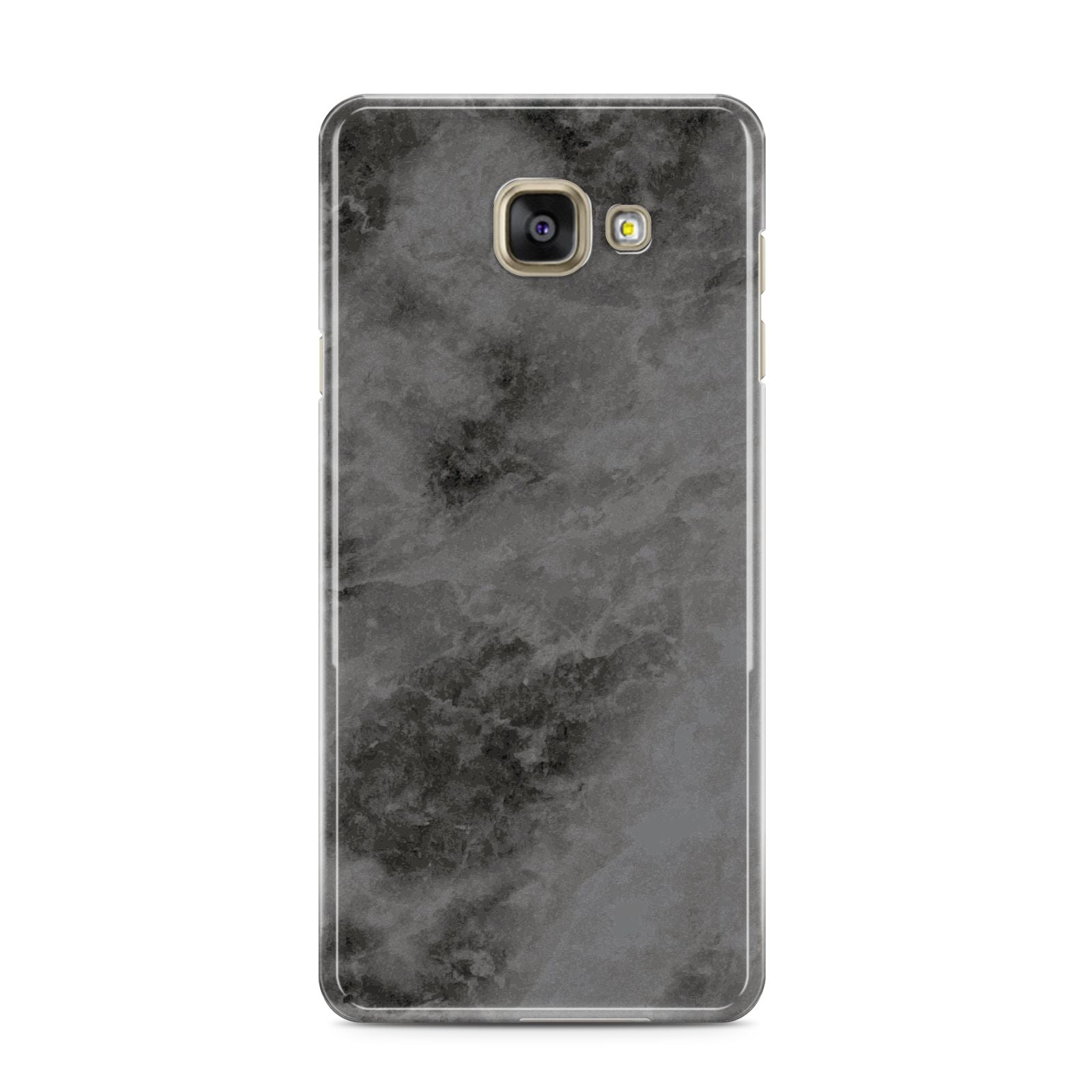 Faux Marble Grey Black Samsung Galaxy A3 2016 Case on gold phone