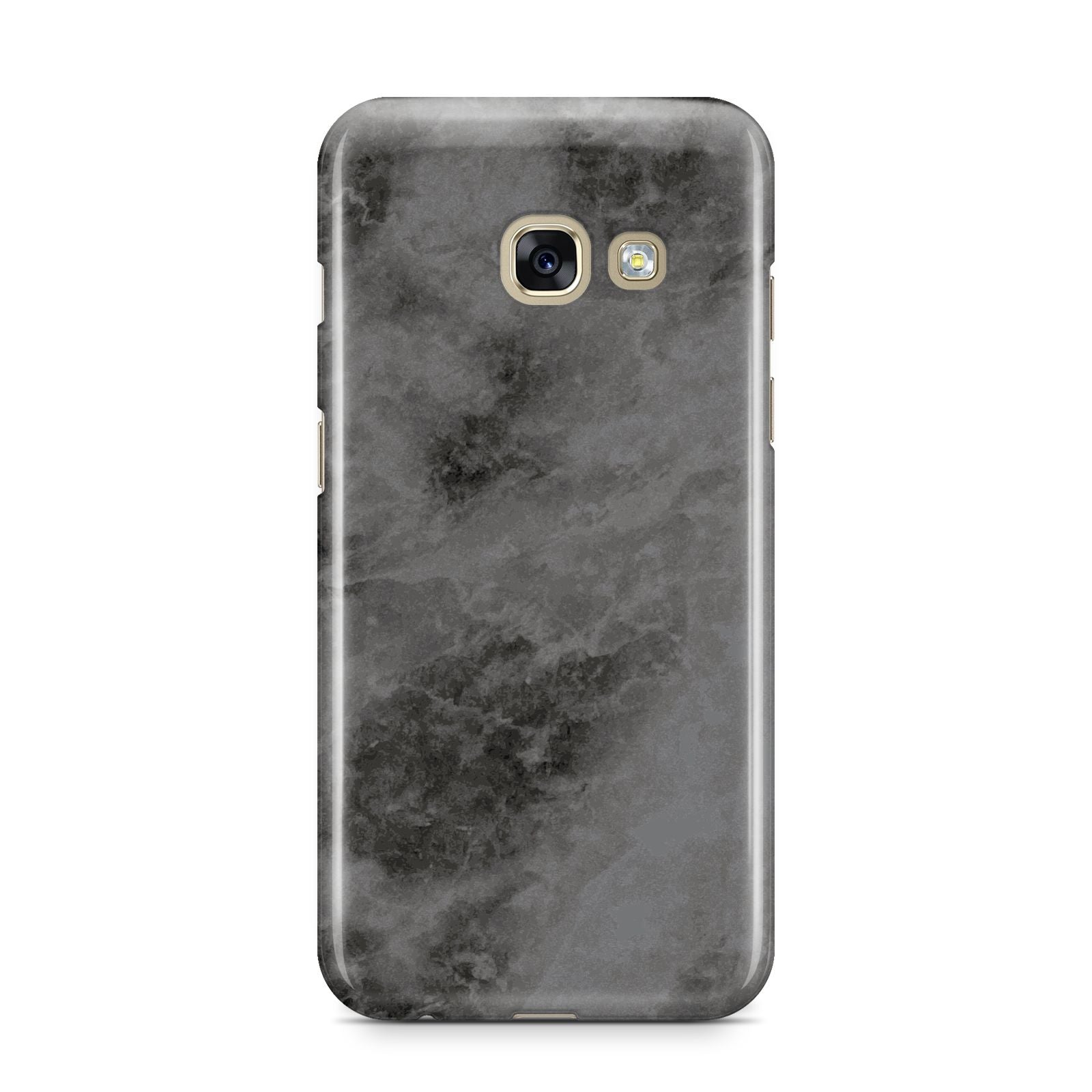 Faux Marble Grey Black Samsung Galaxy A3 2017 Case on gold phone