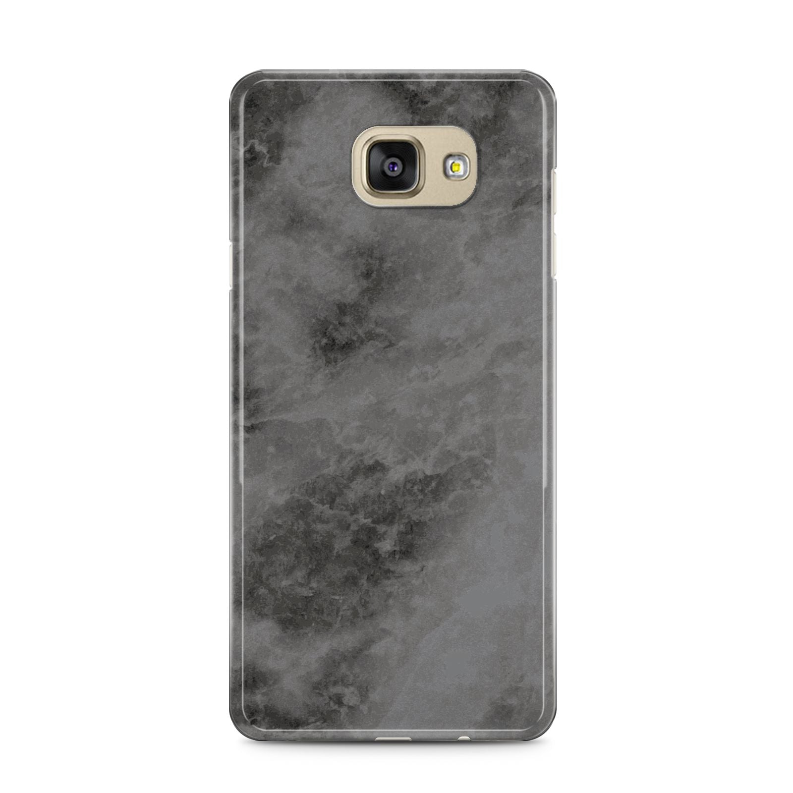 Faux Marble Grey Black Samsung Galaxy A5 2016 Case on gold phone