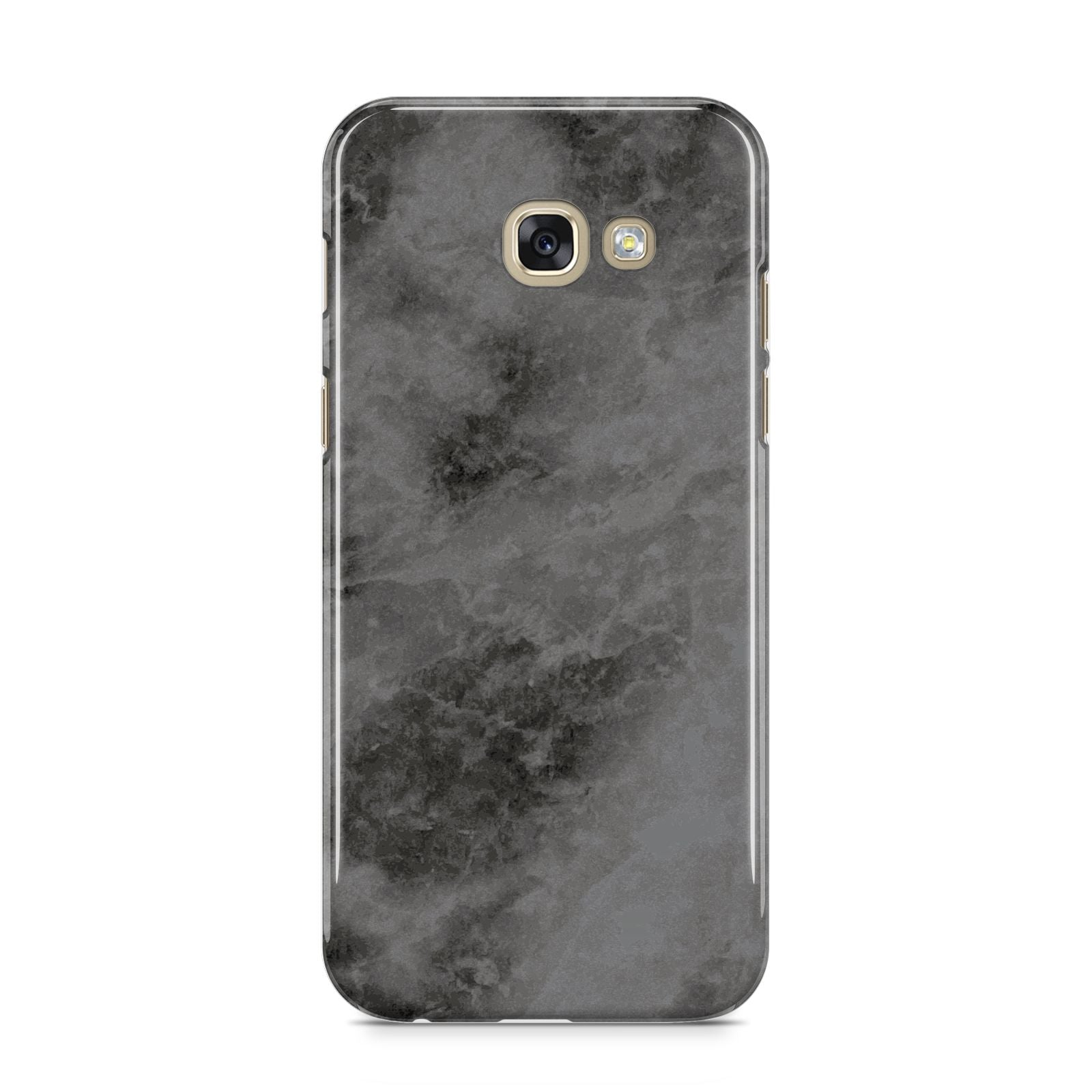 Faux Marble Grey Black Samsung Galaxy A5 2017 Case on gold phone