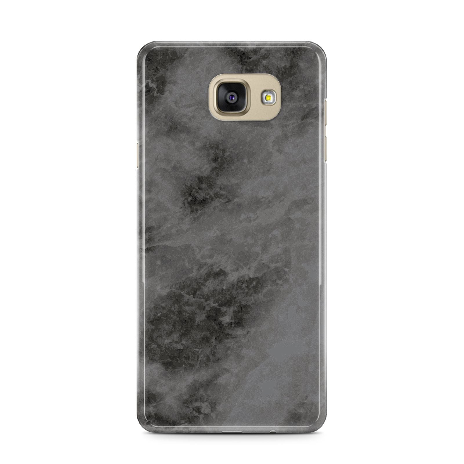 Faux Marble Grey Black Samsung Galaxy A7 2016 Case on gold phone