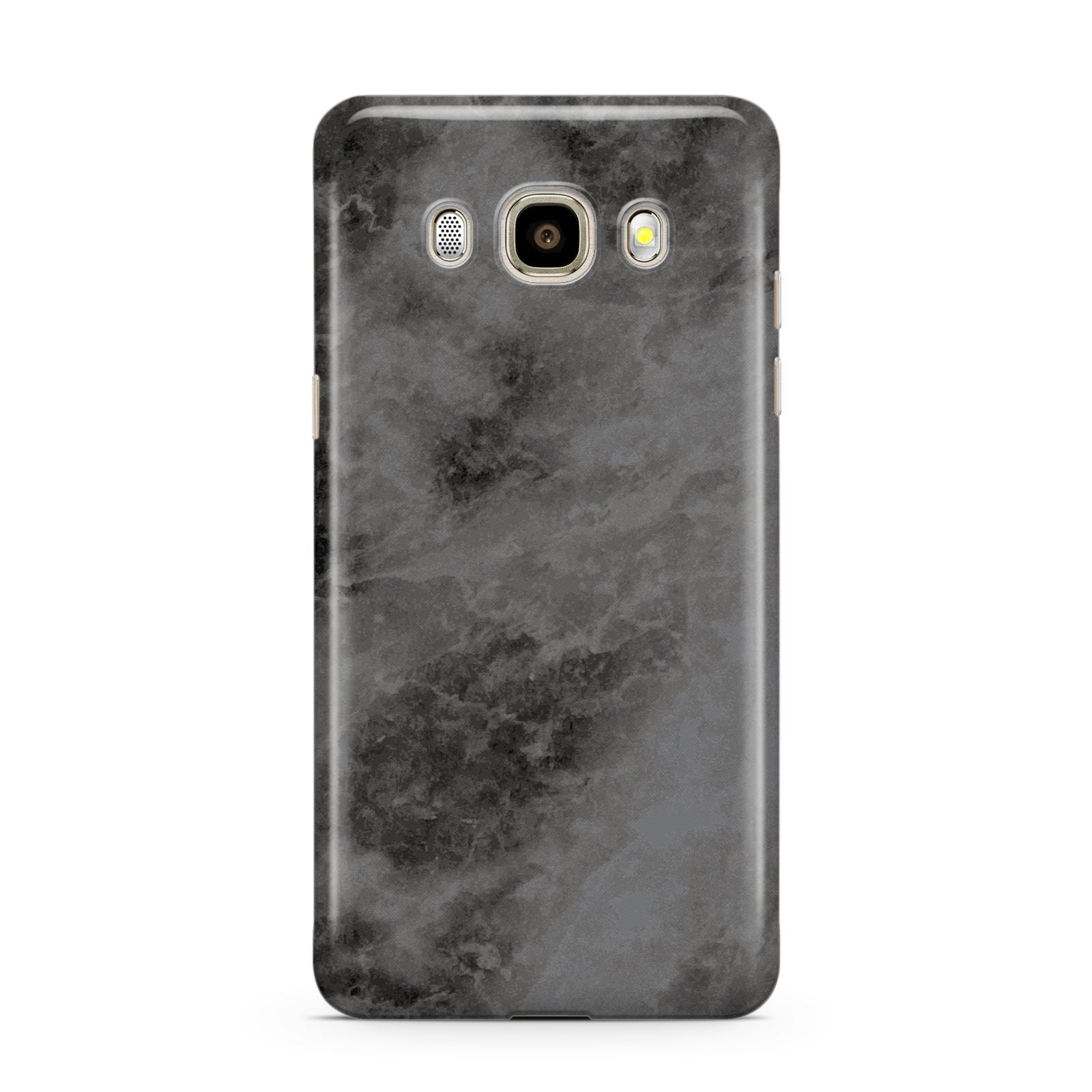 Faux Marble Grey Black Samsung Galaxy J7 2016 Case on gold phone