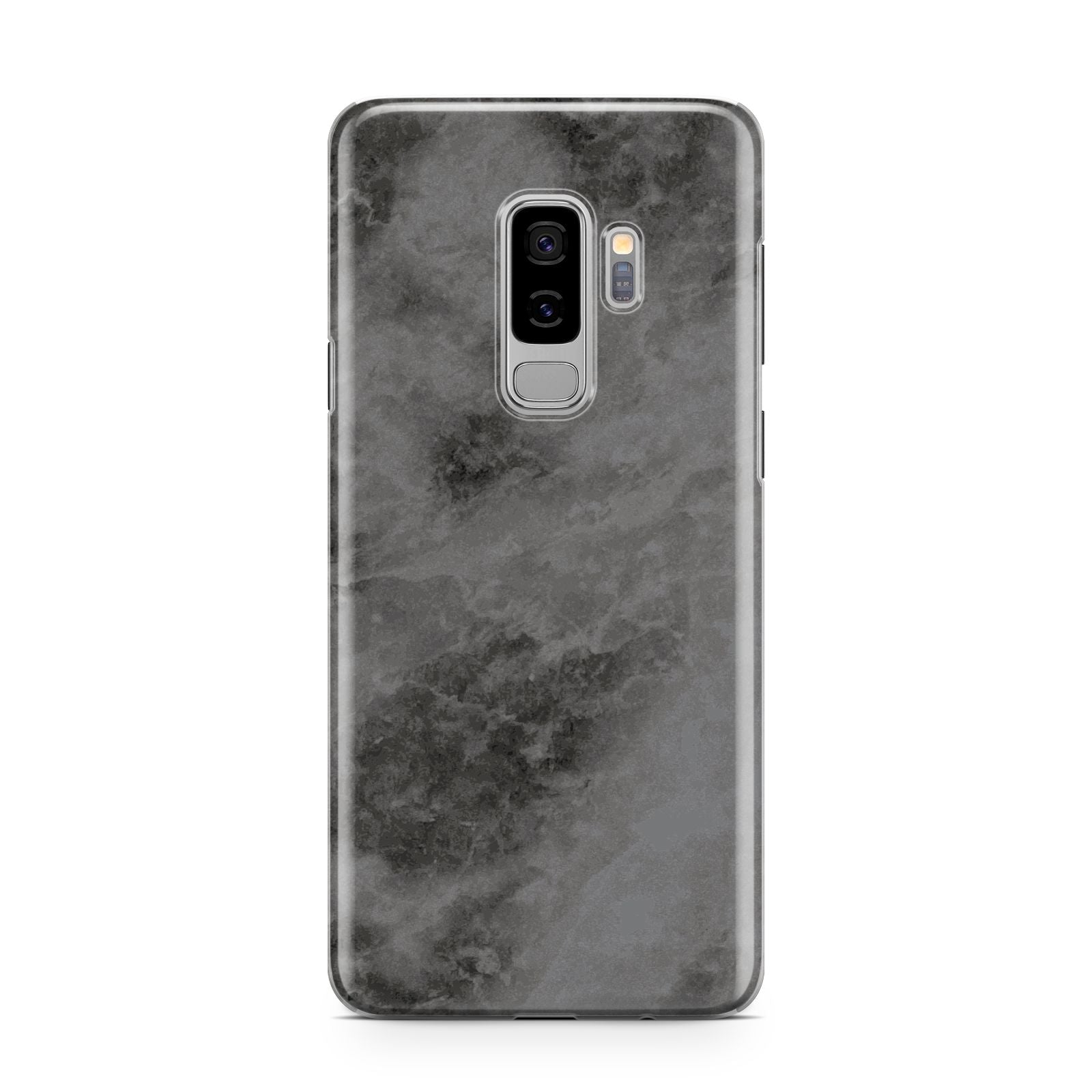 Faux Marble Grey Black Samsung Galaxy S9 Plus Case on Silver phone