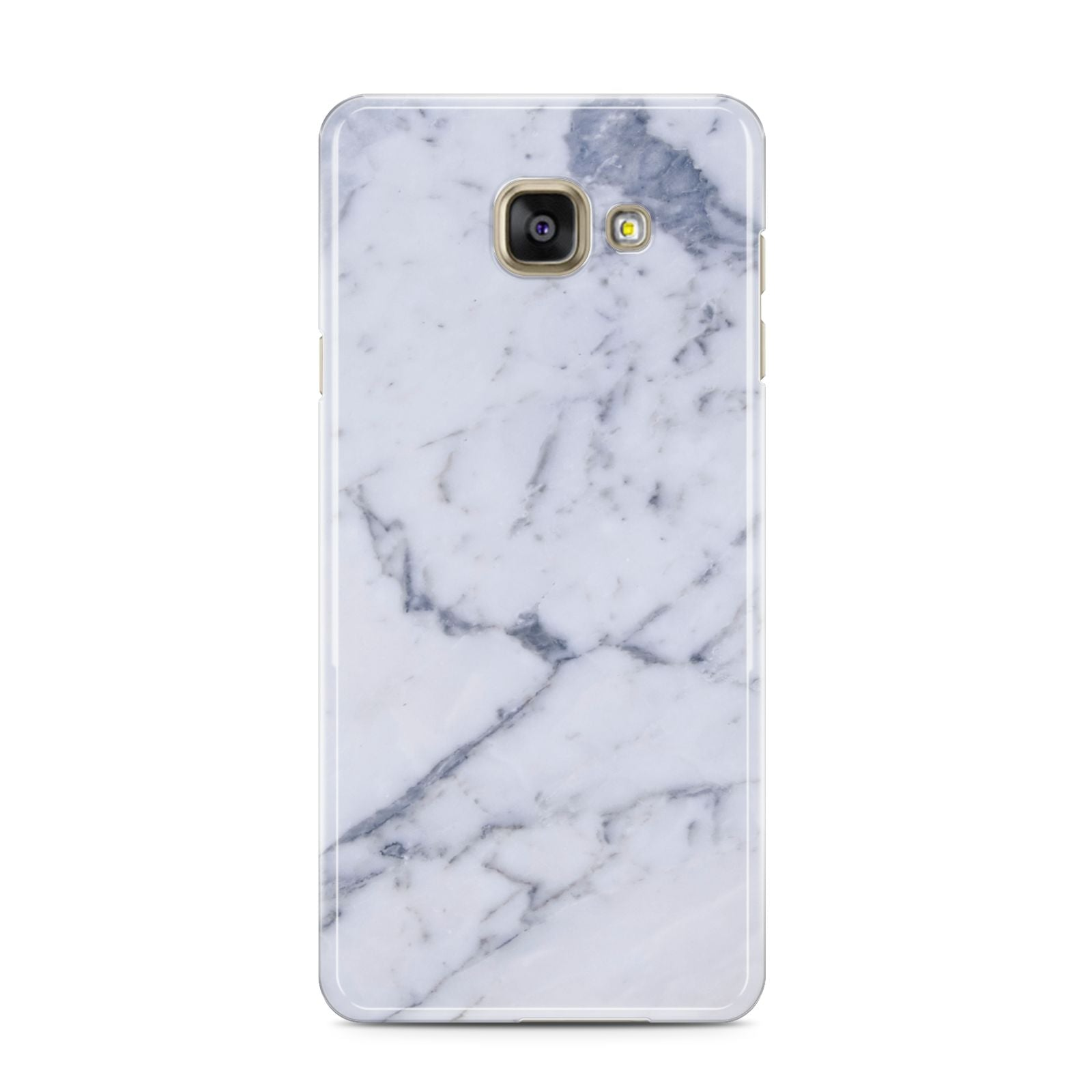 Faux Marble Grey White Samsung Galaxy A3 2016 Case on gold phone
