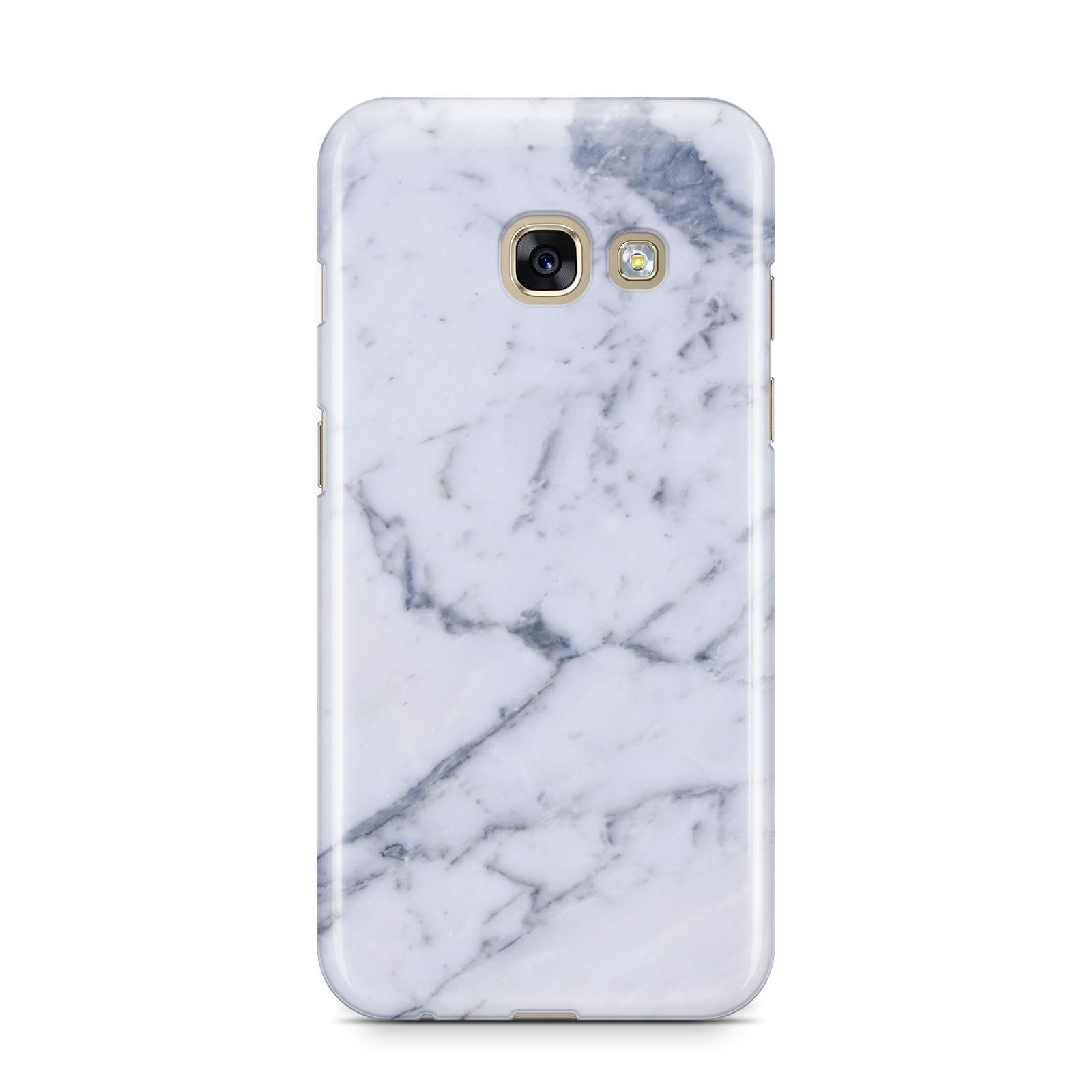 Faux Marble Grey White Samsung Galaxy A3 2017 Case on gold phone