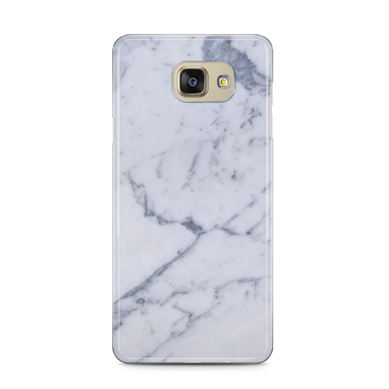 Faux Marble Grey White Samsung Galaxy A5 2016 Case on gold phone