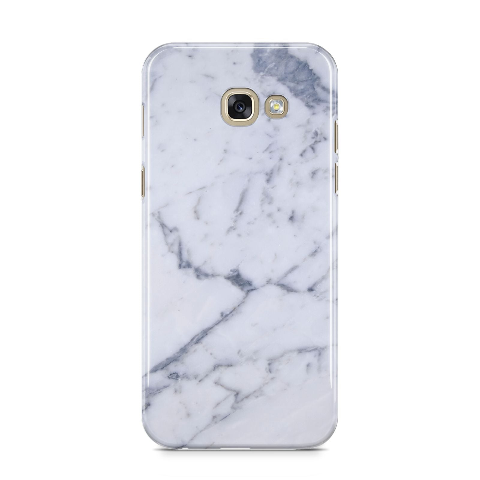 Faux Marble Grey White Samsung Galaxy A5 2017 Case on gold phone