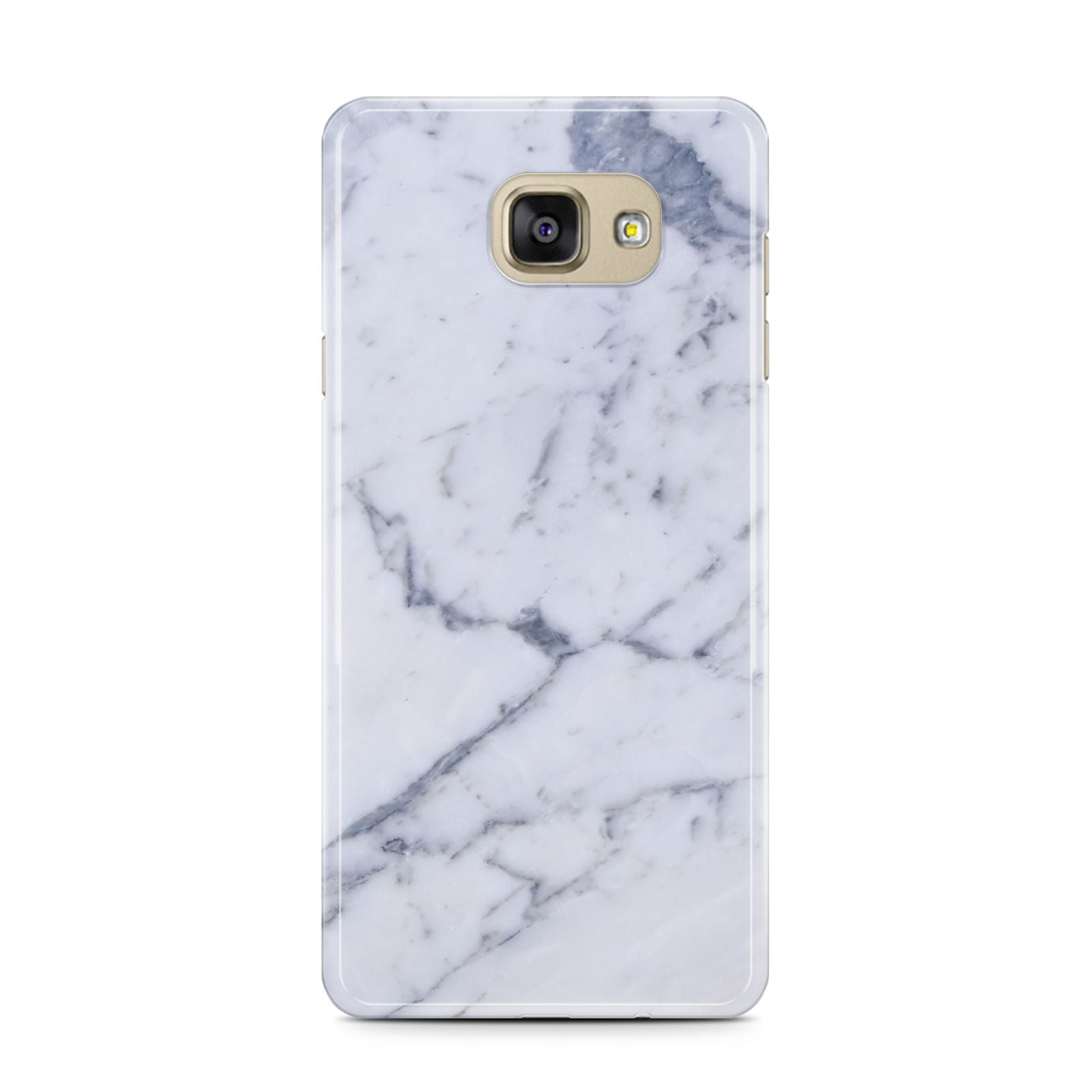 Faux Marble Grey White Samsung Galaxy A7 2016 Case on gold phone