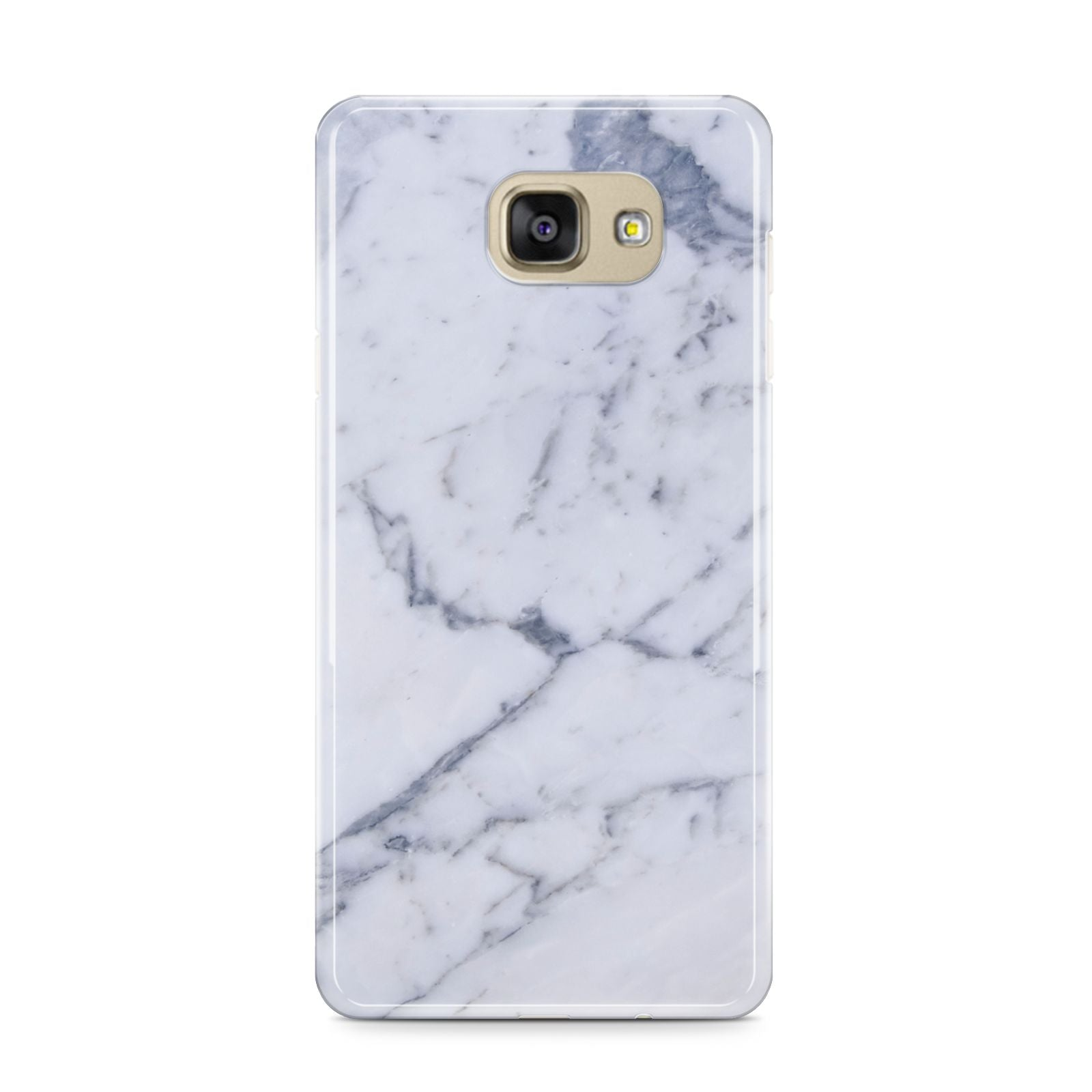 Faux Marble Grey White Samsung Galaxy A9 2016 Case on gold phone