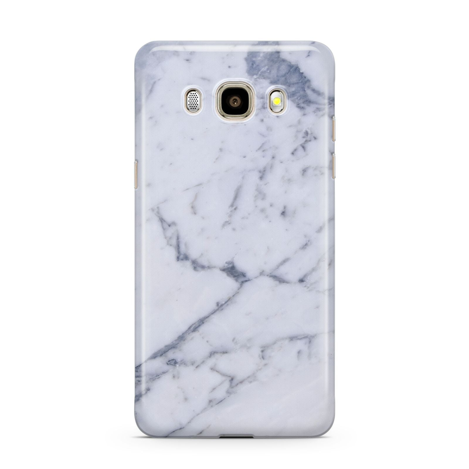 Faux Marble Grey White Samsung Galaxy J7 2016 Case on gold phone