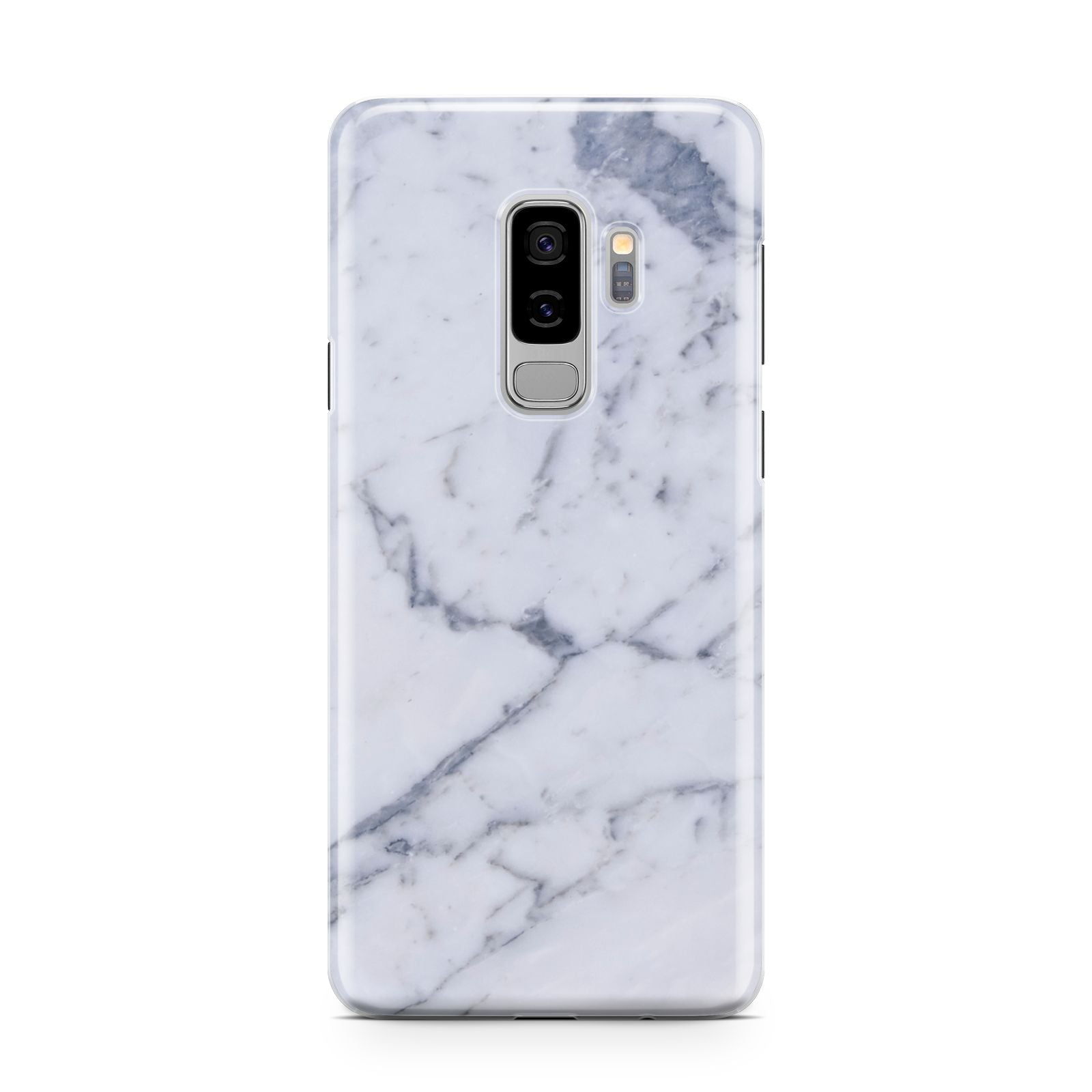 Faux Marble Grey White Samsung Galaxy S9 Plus Case on Silver phone