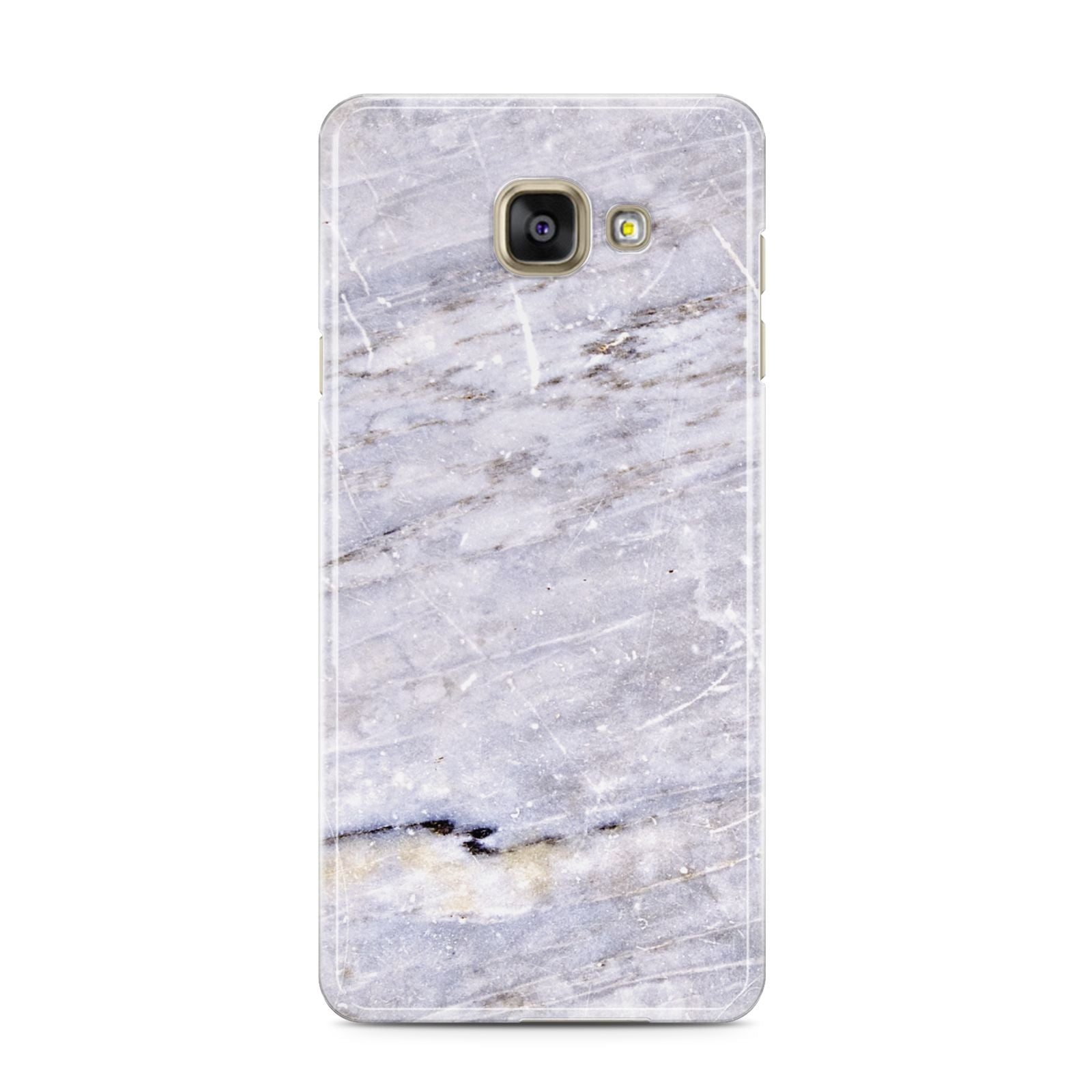 Faux Marble Mid Grey Samsung Galaxy A3 2016 Case on gold phone