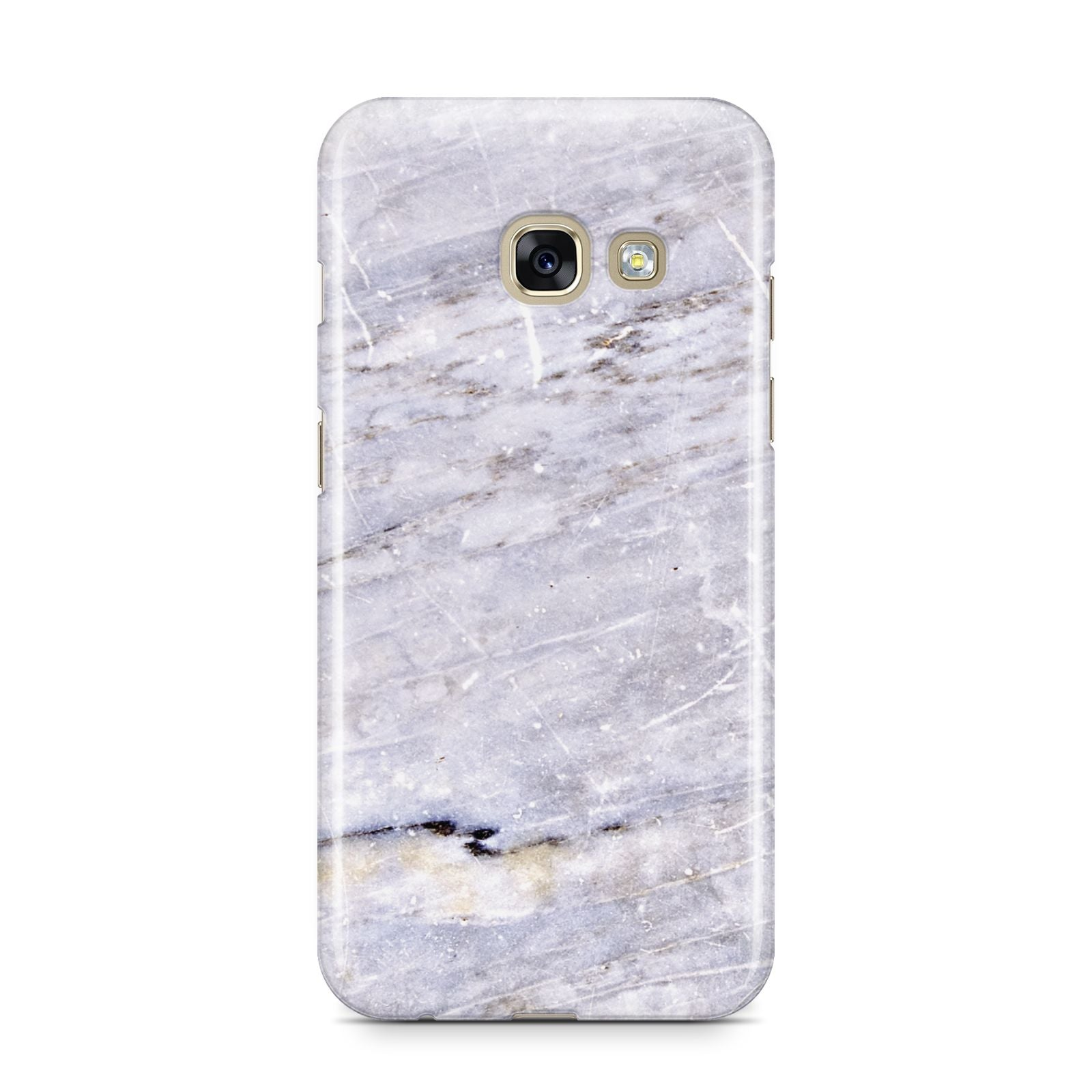 Faux Marble Mid Grey Samsung Galaxy A3 2017 Case on gold phone