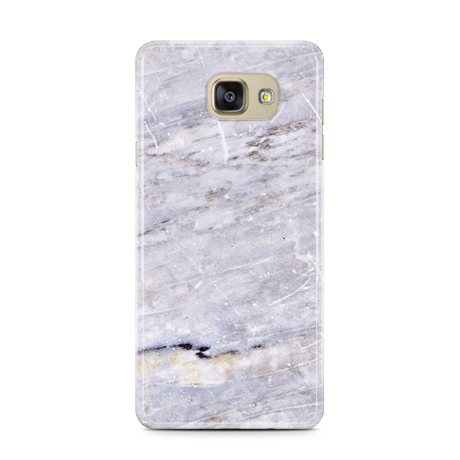 Faux Marble Mid Grey Samsung Galaxy A7 2016 Case on gold phone