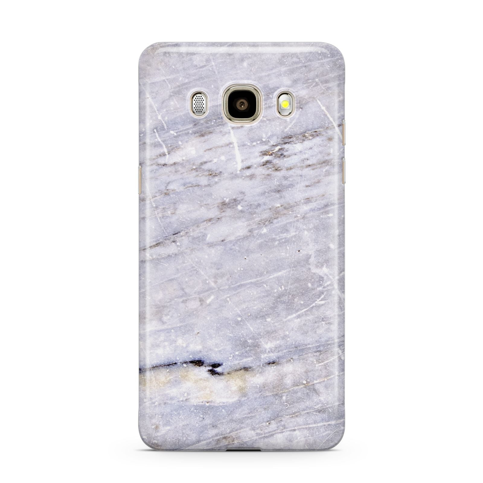 Faux Marble Mid Grey Samsung Galaxy J7 2016 Case on gold phone