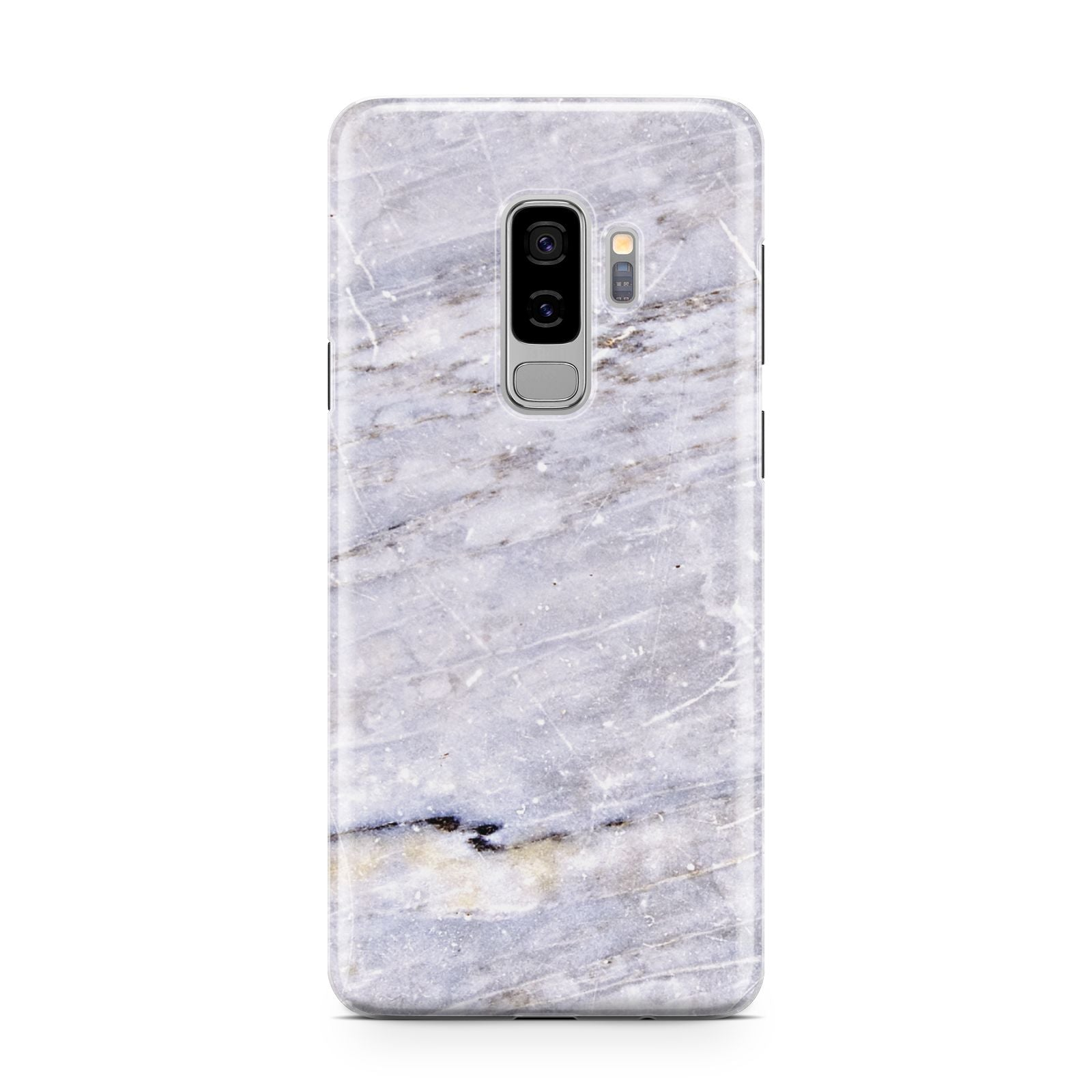 Faux Marble Mid Grey Samsung Galaxy S9 Plus Case on Silver phone