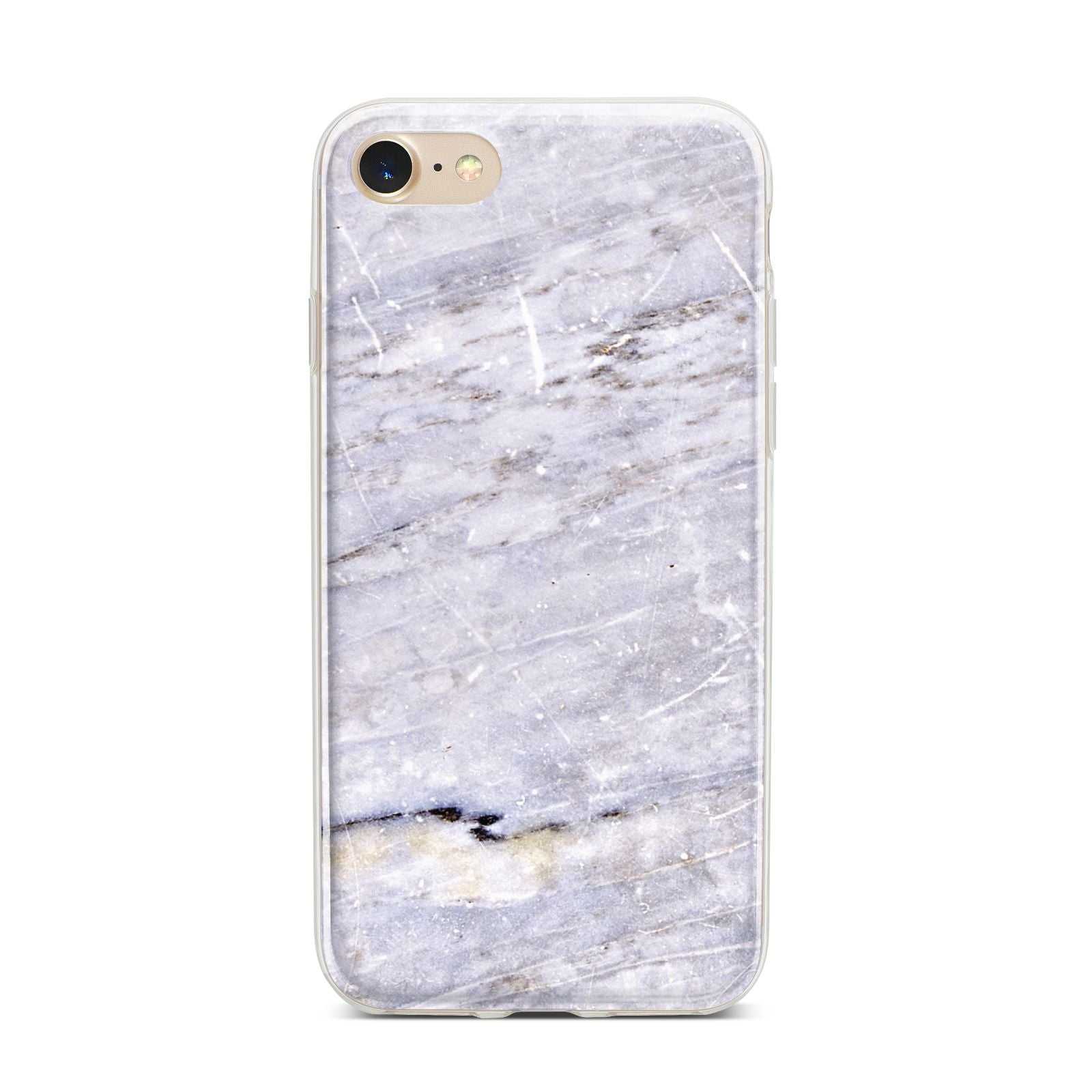 Faux Marble Mid Grey iPhone 7 Bumper Case on Gold iPhone