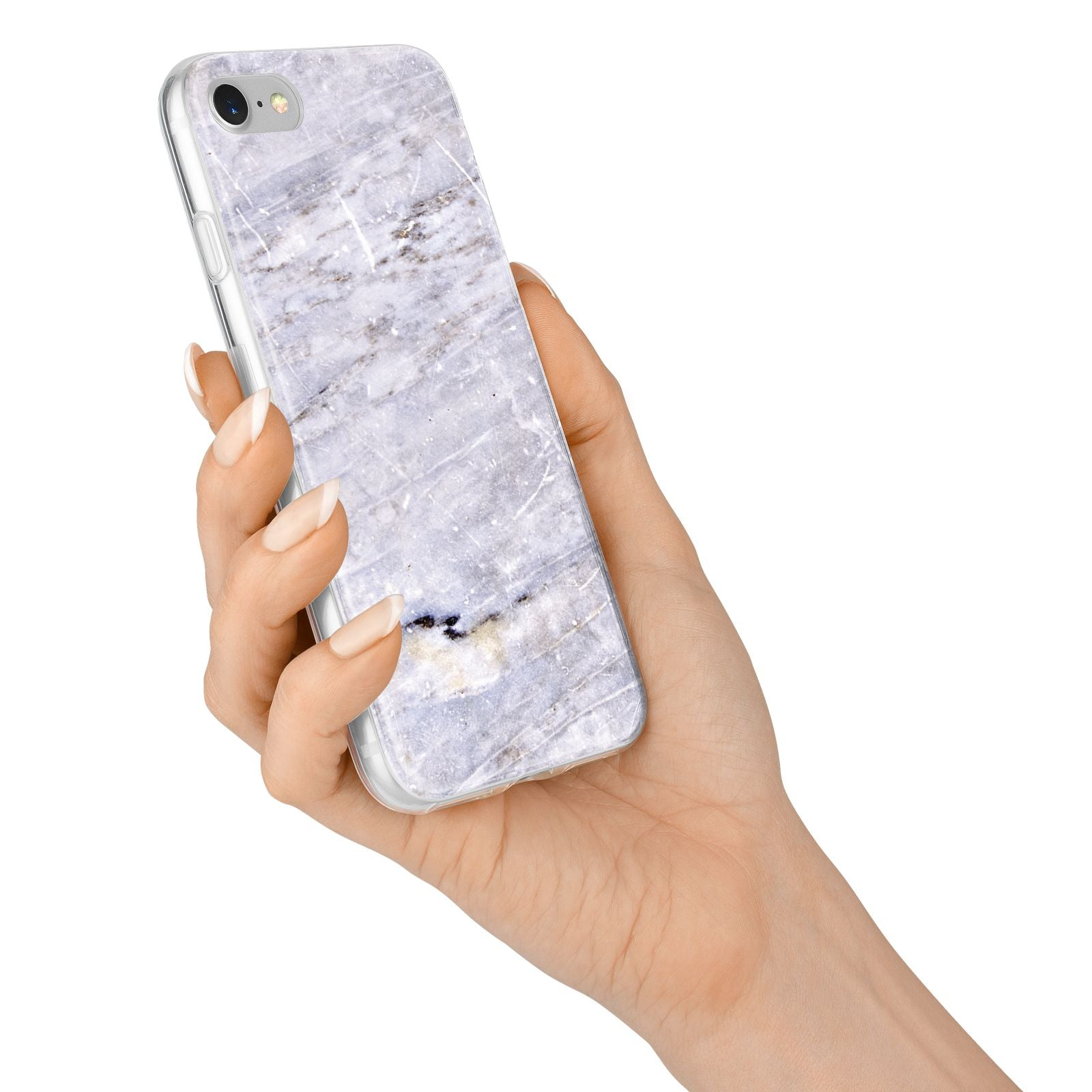 Faux Marble Mid Grey iPhone 7 Bumper Case on Silver iPhone Alternative Image