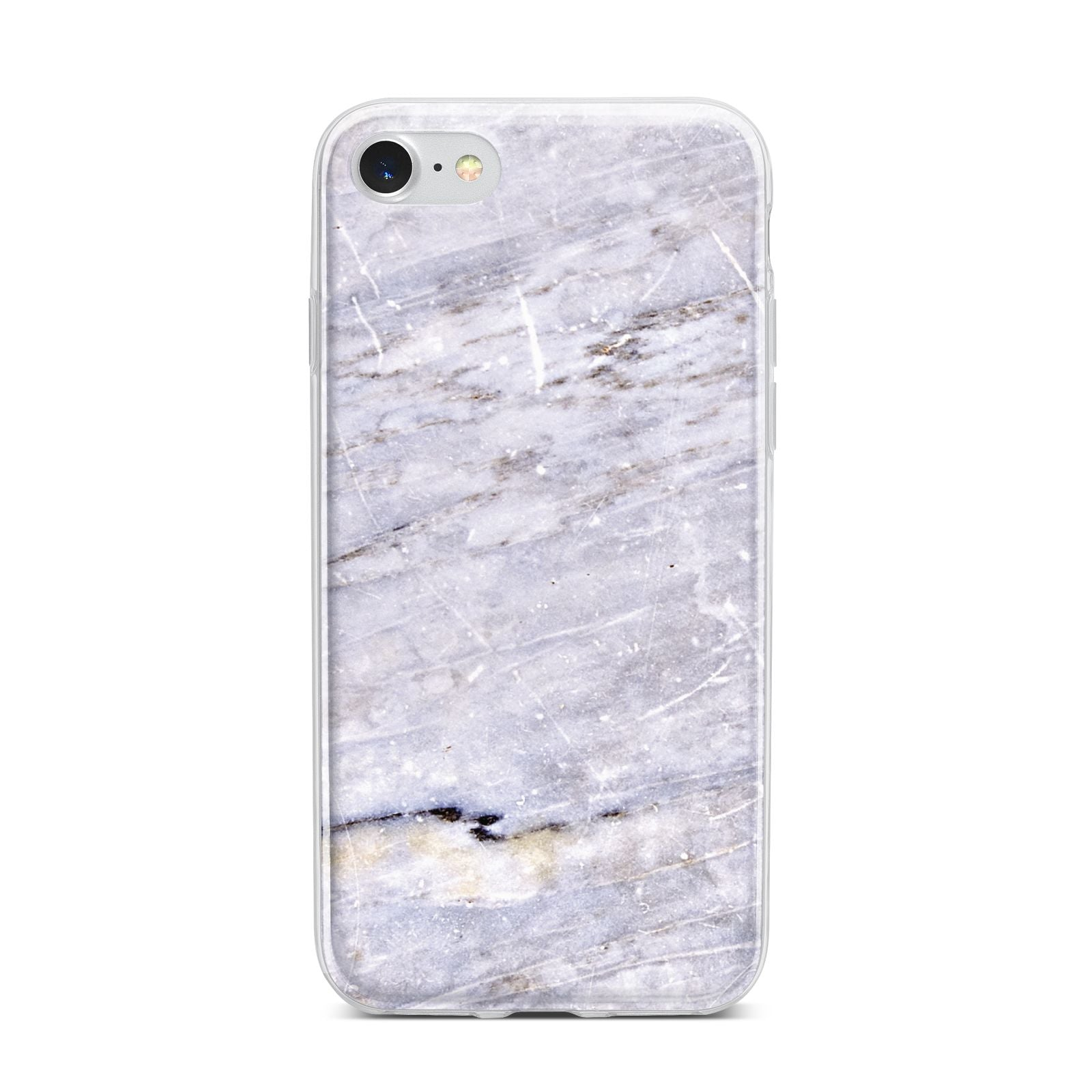 Faux Marble Mid Grey iPhone 7 Bumper Case on Silver iPhone