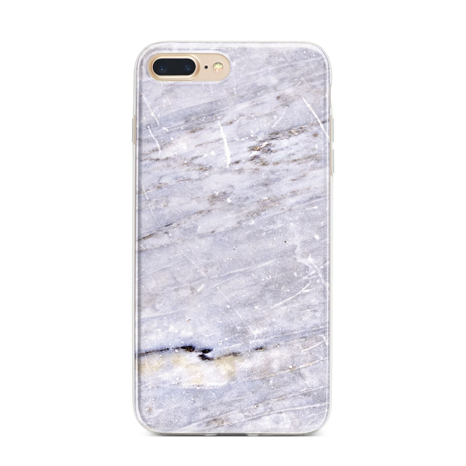 Faux Marble Mid Grey iPhone 7 Plus Bumper Case on Gold iPhone