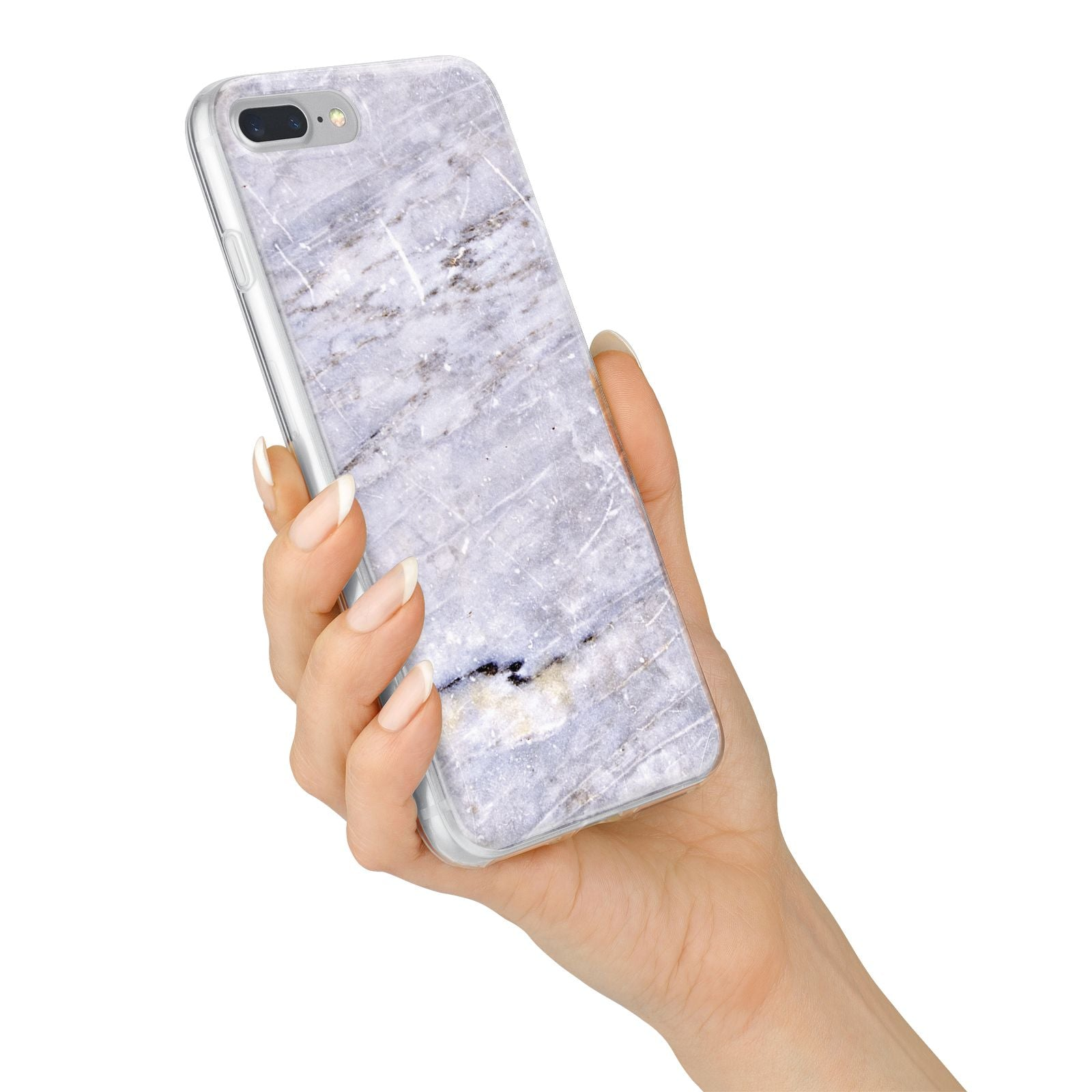 Faux Marble Mid Grey iPhone 7 Plus Bumper Case on Silver iPhone Alternative Image