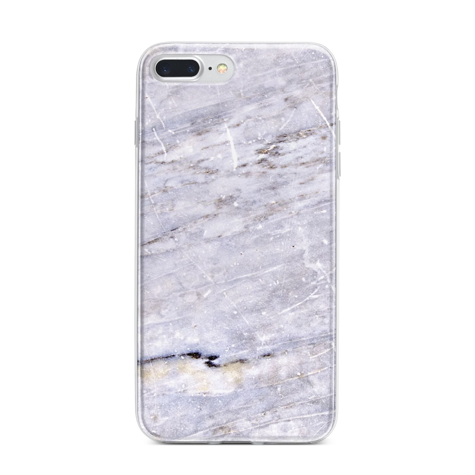 Faux Marble Mid Grey iPhone 7 Plus Bumper Case on Silver iPhone