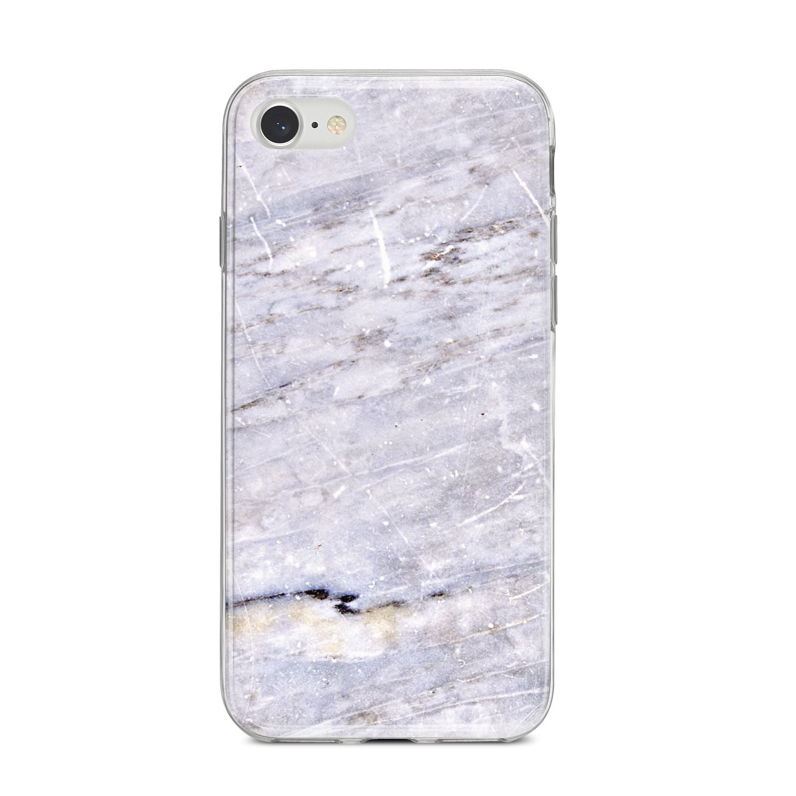 Faux Marble Mid Grey iPhone 8 Bumper Case on Silver iPhone
