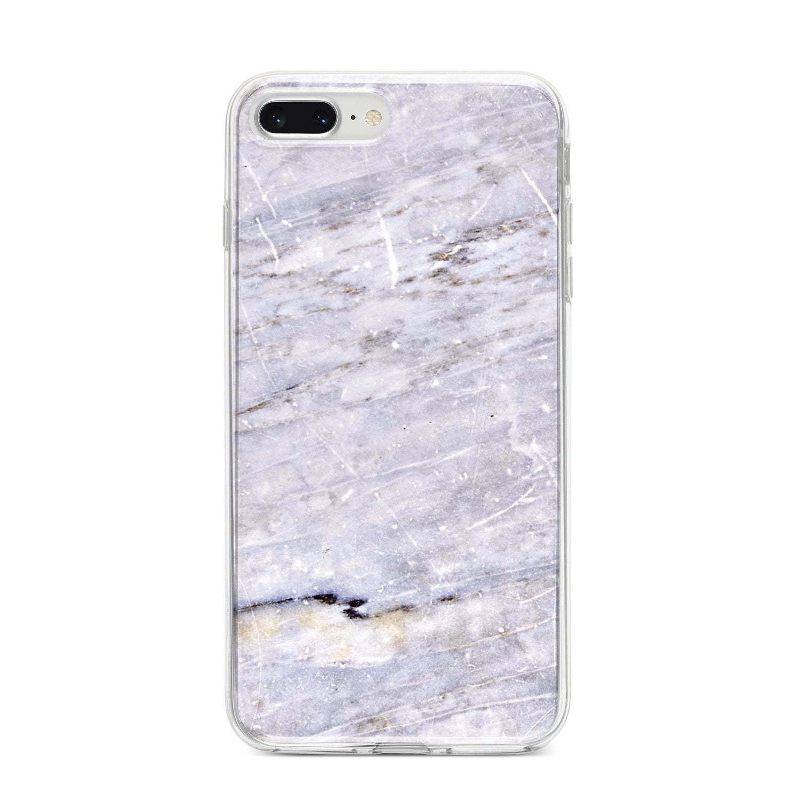 Faux Marble Mid Grey iPhone 8 Plus Bumper Case on Silver iPhone