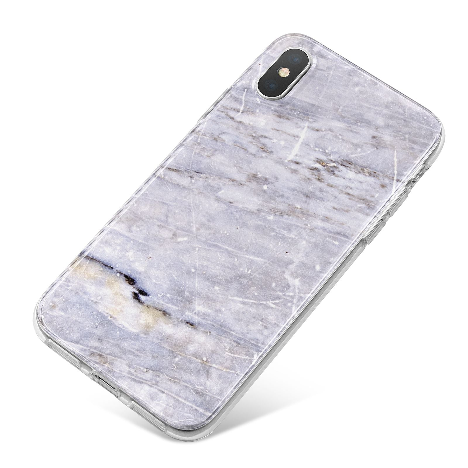 Faux Marble Mid Grey iPhone X Bumper Case on Silver iPhone