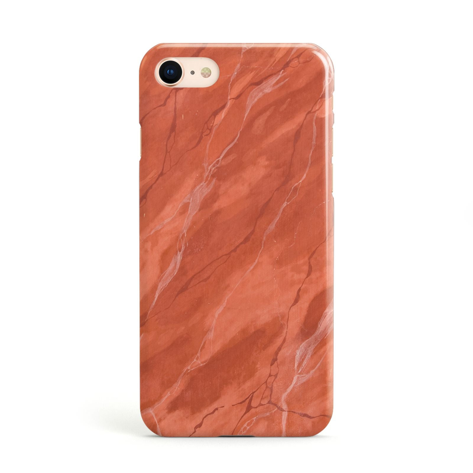 Faux Marble Red Orange Apple iPhone Case