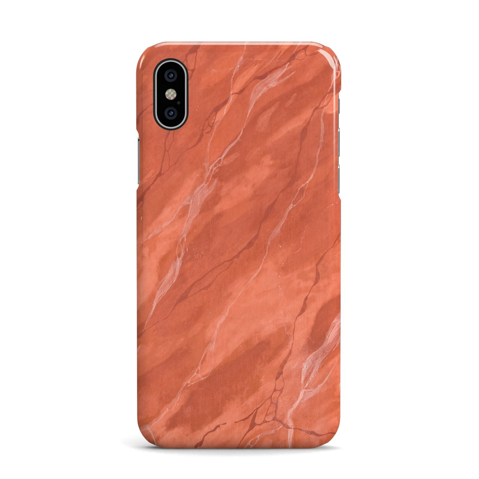 Faux Marble Red Orange Apple iPhone X Case