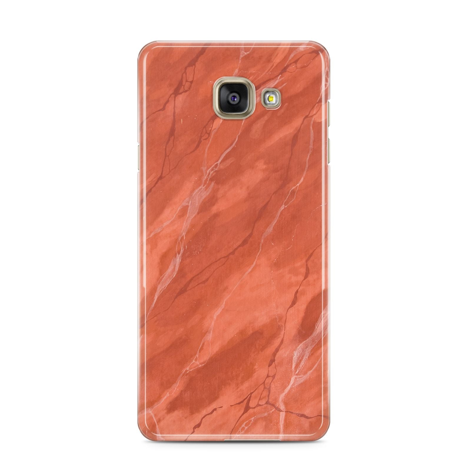Faux Marble Red Orange Samsung Galaxy A3 2016 Case on gold phone