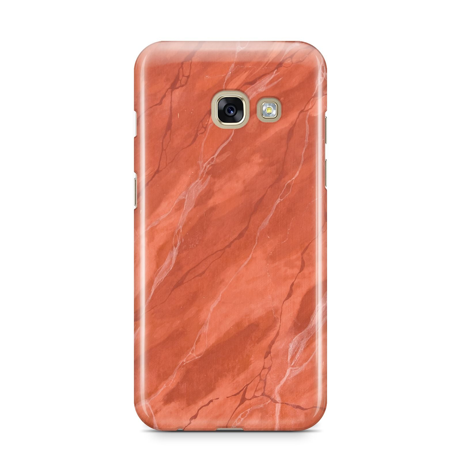 Faux Marble Red Orange Samsung Galaxy A3 2017 Case on gold phone