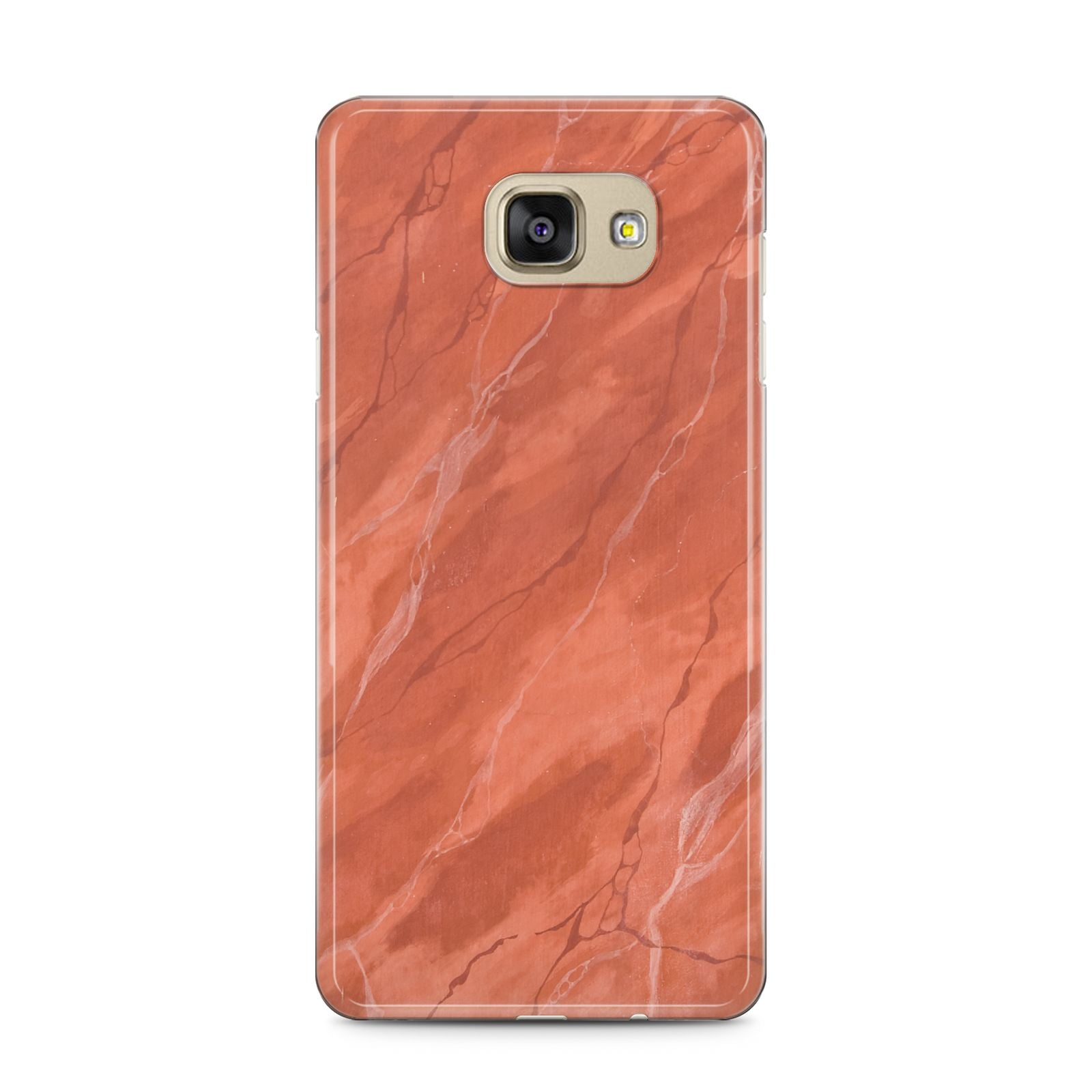 Faux Marble Red Orange Samsung Galaxy A5 2016 Case on gold phone