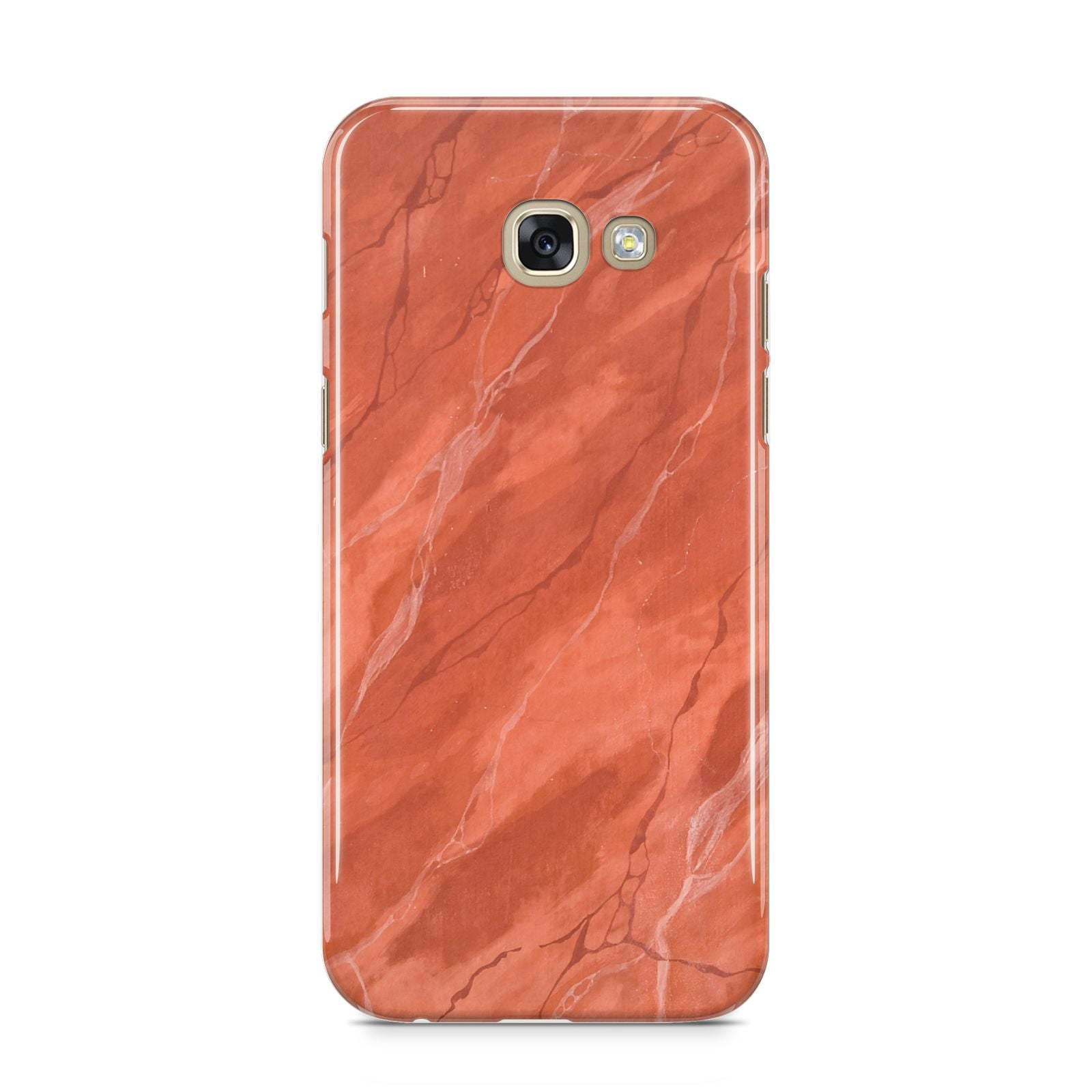Faux Marble Red Orange Samsung Galaxy A5 2017 Case on gold phone