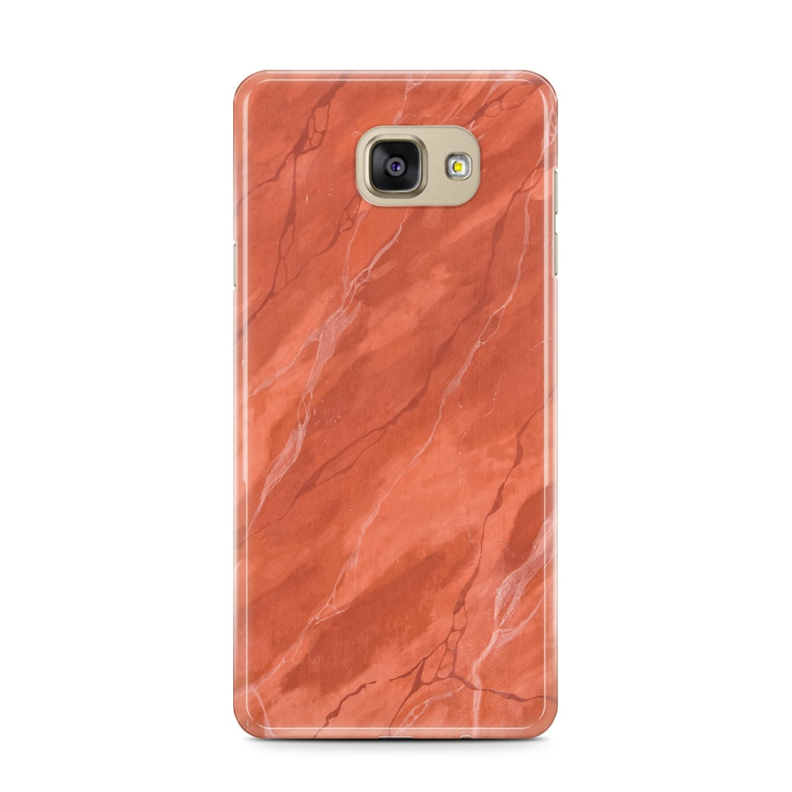 Faux Marble Red Orange Samsung Galaxy A7 2016 Case on gold phone