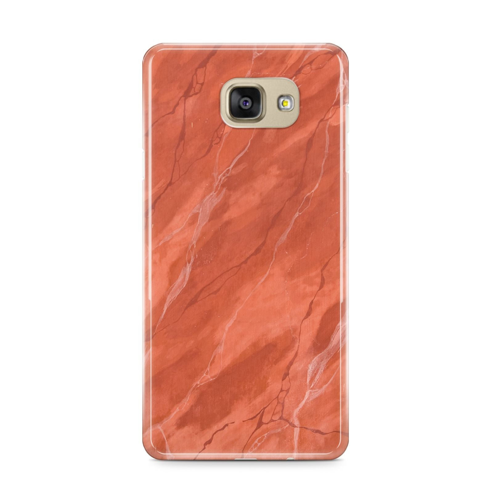 Faux Marble Red Orange Samsung Galaxy A9 2016 Case on gold phone