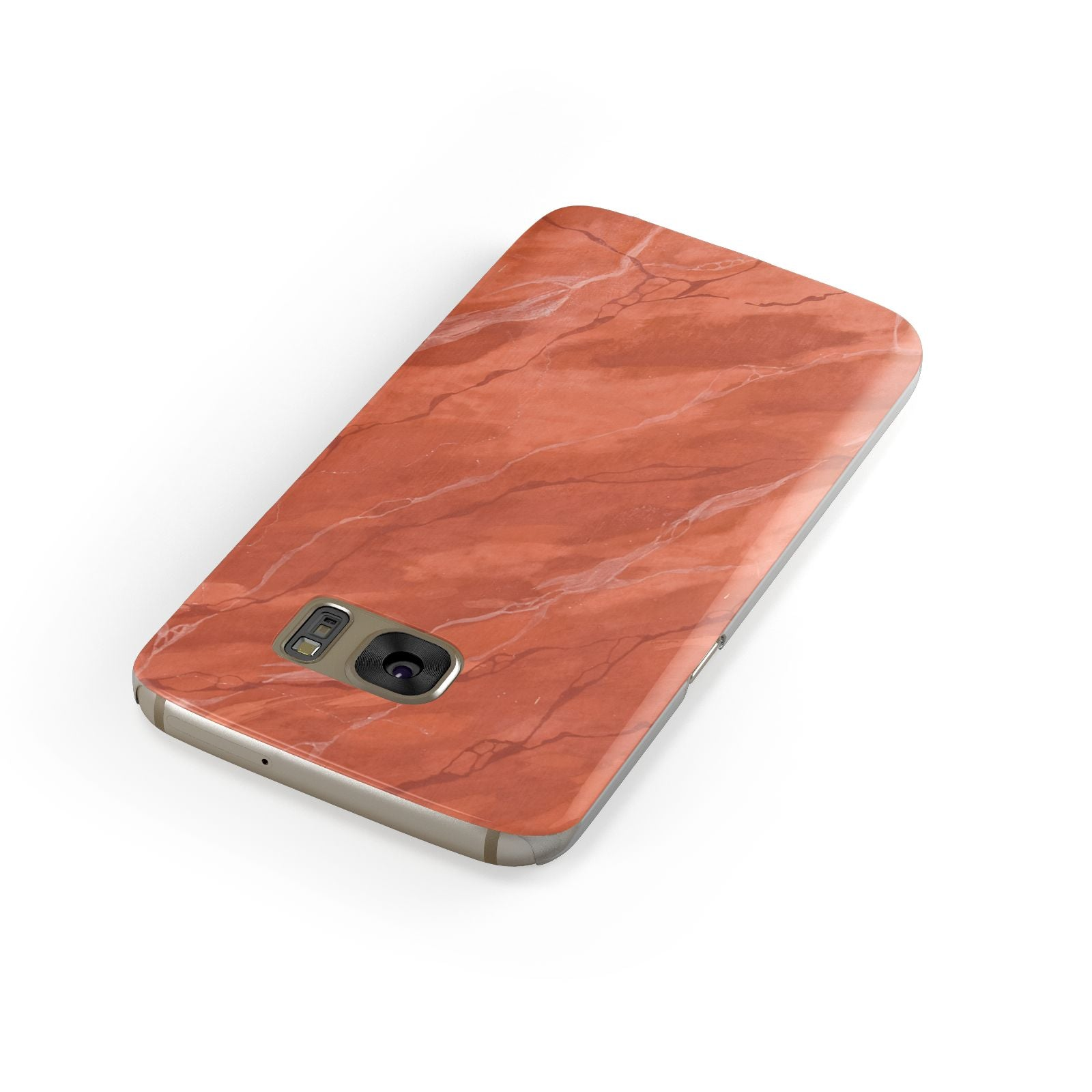 Faux Marble Red Orange Samsung Galaxy Case Front Close Up