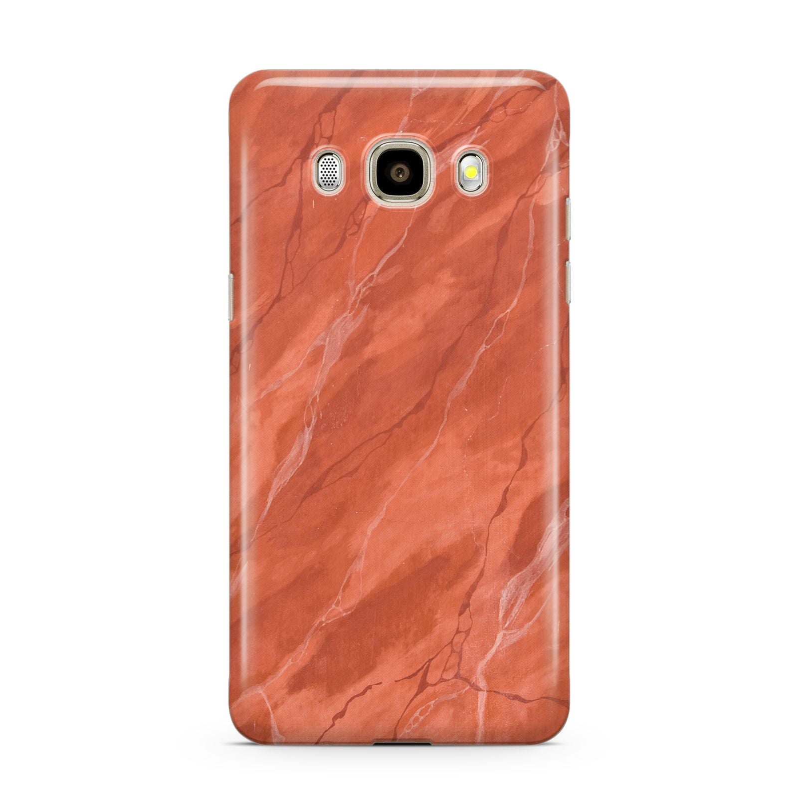 Faux Marble Red Orange Samsung Galaxy J7 2016 Case on gold phone